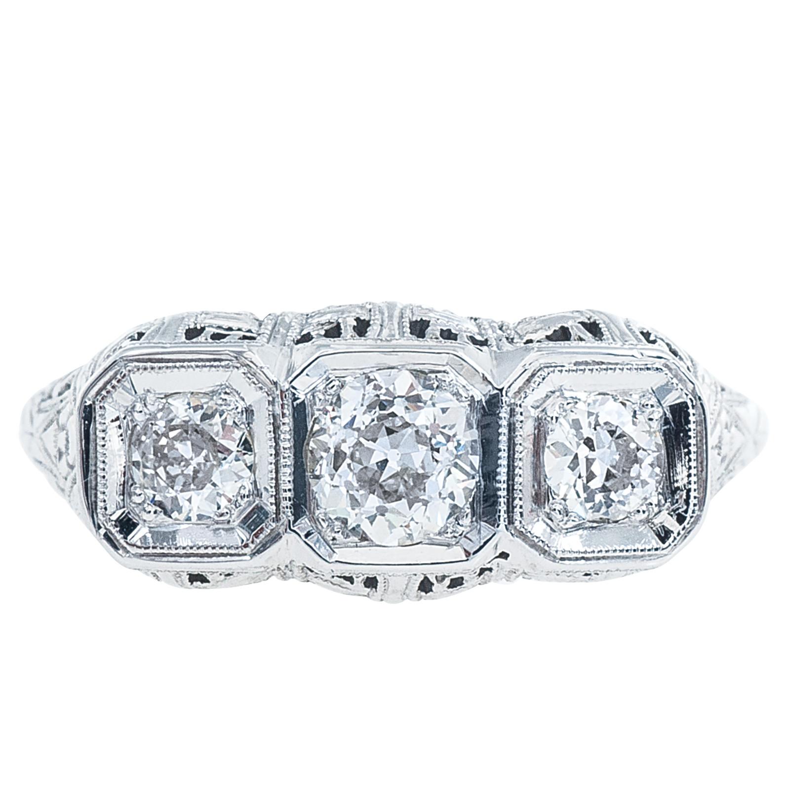 Antique Edwardian 0.60 CTW Diamond Three Stone Engagement Ring