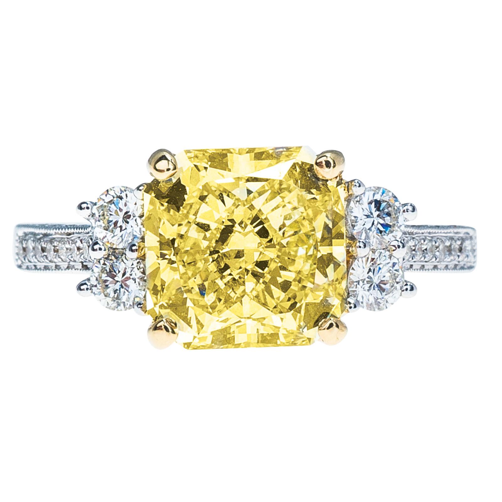 New 3.73 CTW Yellow & White Diamond Engagement Ring