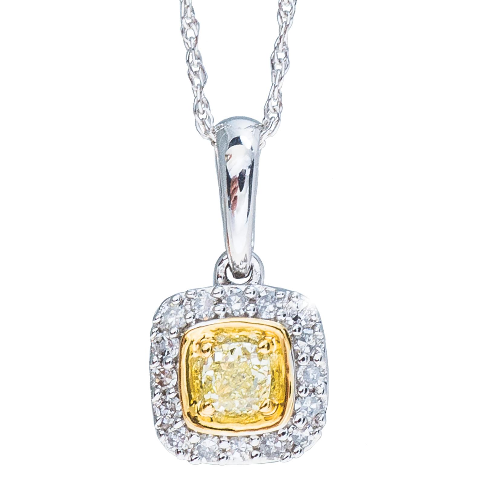 New 0.24 CTW Fancy Yellow Diamond Pendant