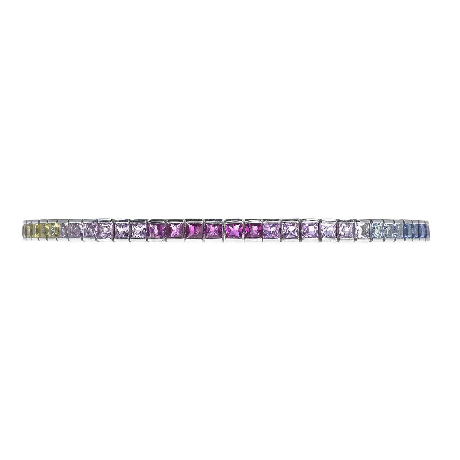 Vintage 6.50 CTW Rainbow Sapphire Tennis Bracelet