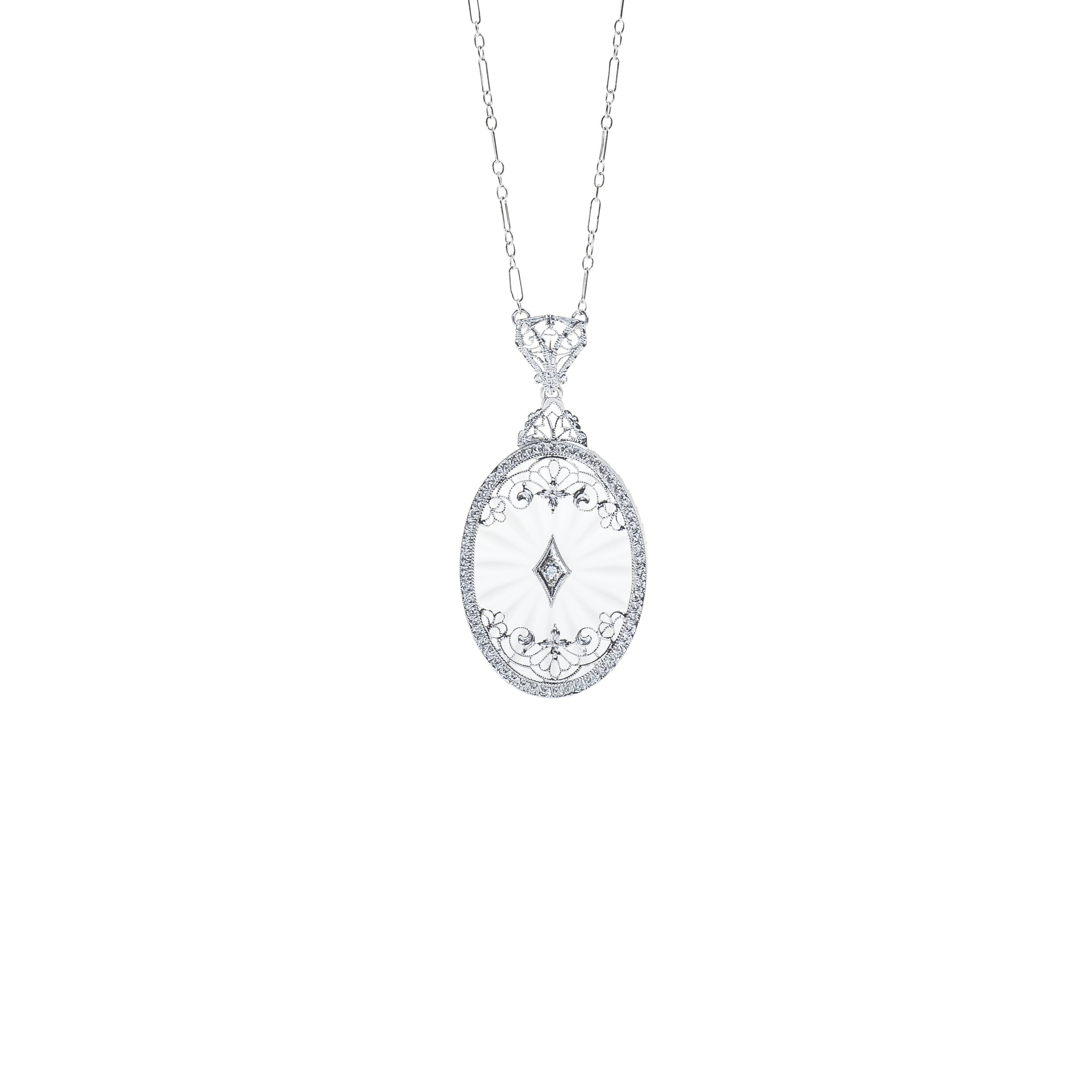 Antique Art Deco 0.03 CT Diamond Camphor Glass Flower Necklace