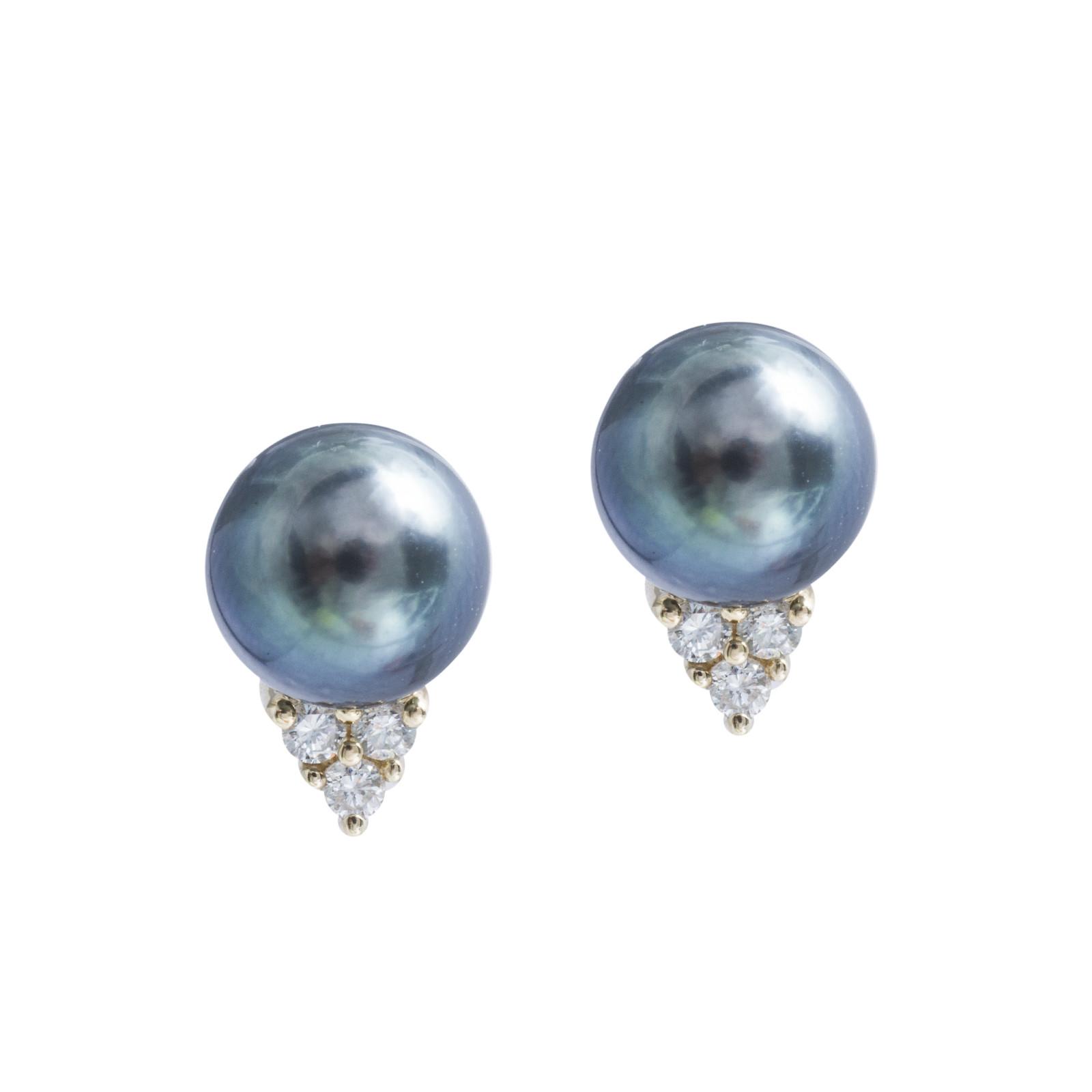 Vintage Tahitian Pearl & 0.24 CTW Diamond Cluster Stud Earrings