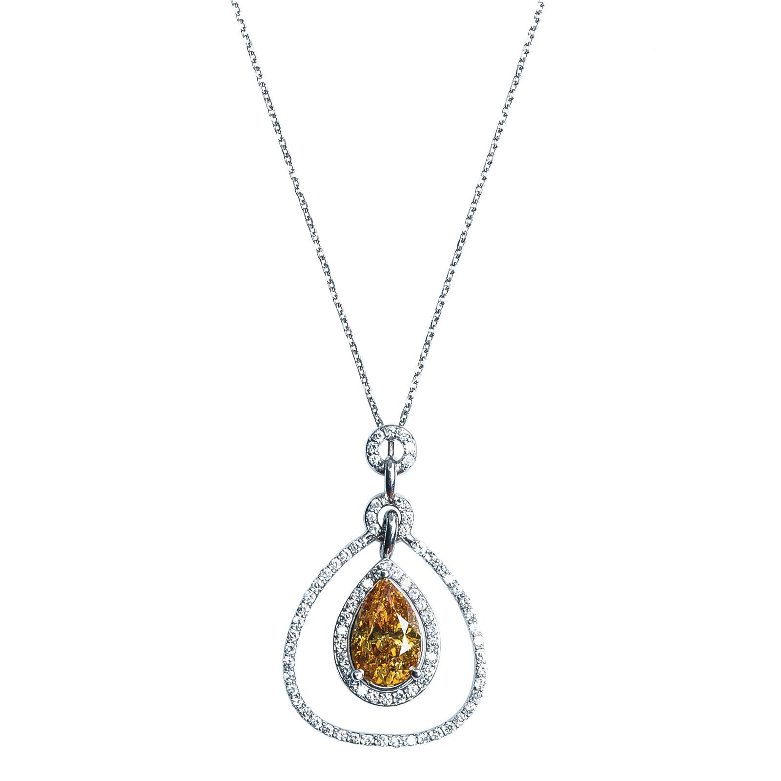 Vintage 3.10 CTW Fancy Deep Yellow-Orange & White Diamond Necklace