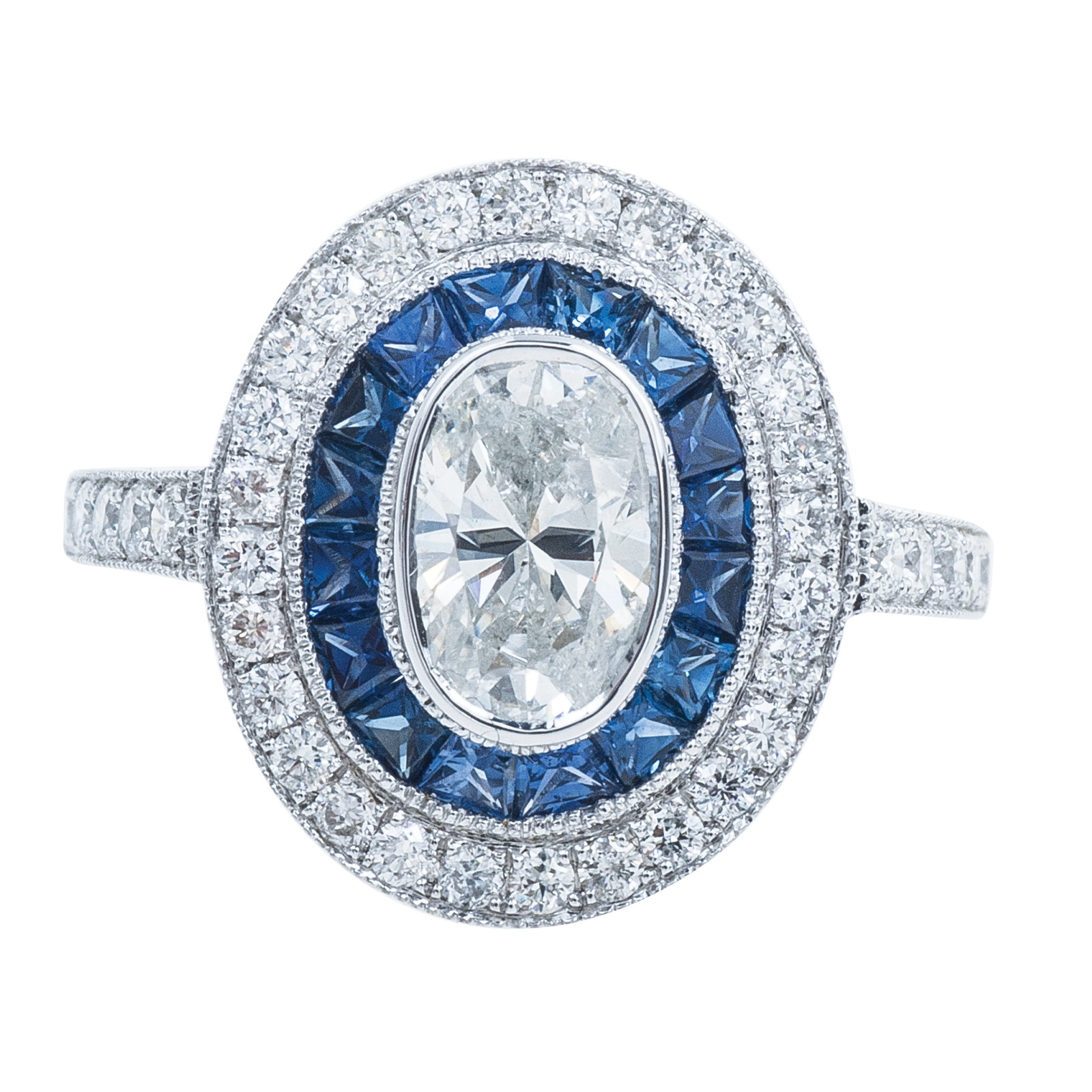 New 2.33 CTW Diamond & Sapphire Halo Engagement Ring