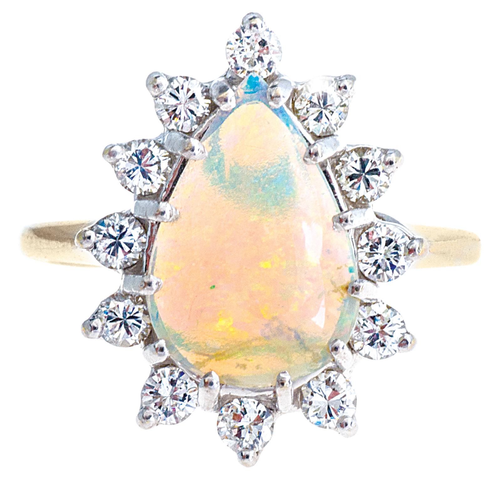 Vintage Opal & 0.63 CTW Diamond Ring