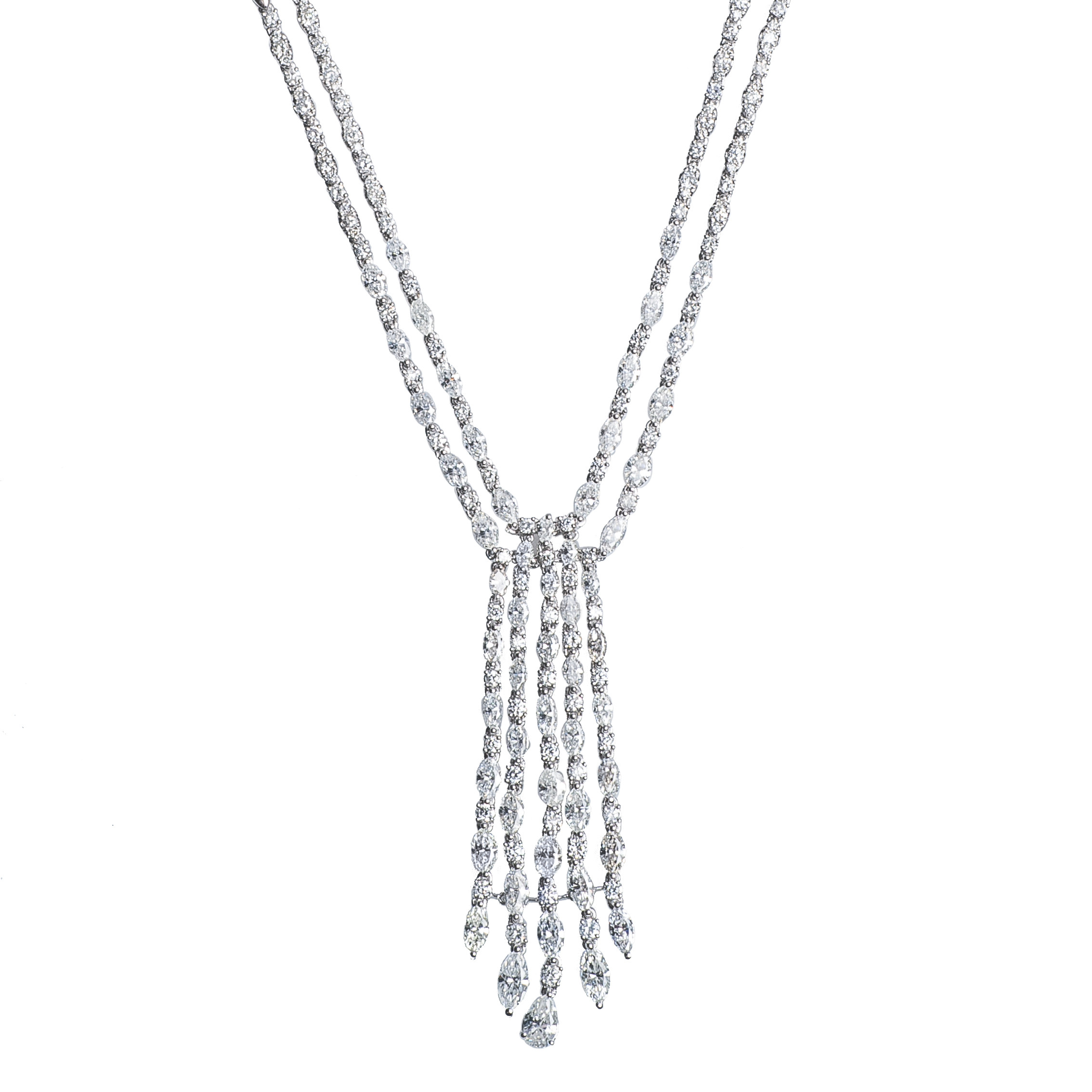 New 15.42 CTW Diamond Tassel Tennis Necklace