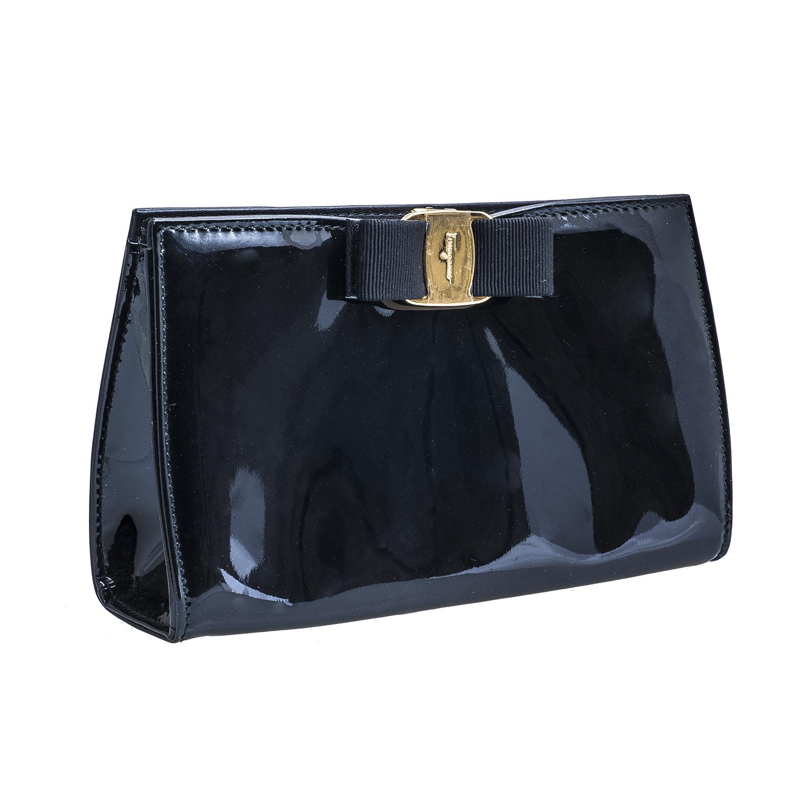Vintage Ferragamo Black Vara Patent Leather Piuma Clutch