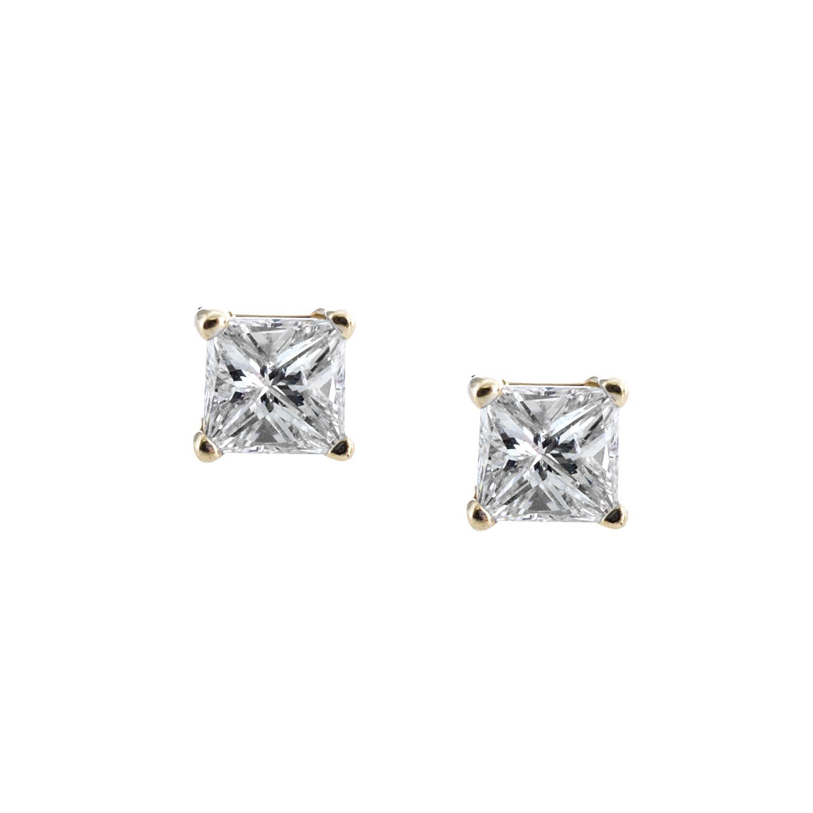 Vintage 0.28 CTW Princess Cut Diamond Stud Earrings