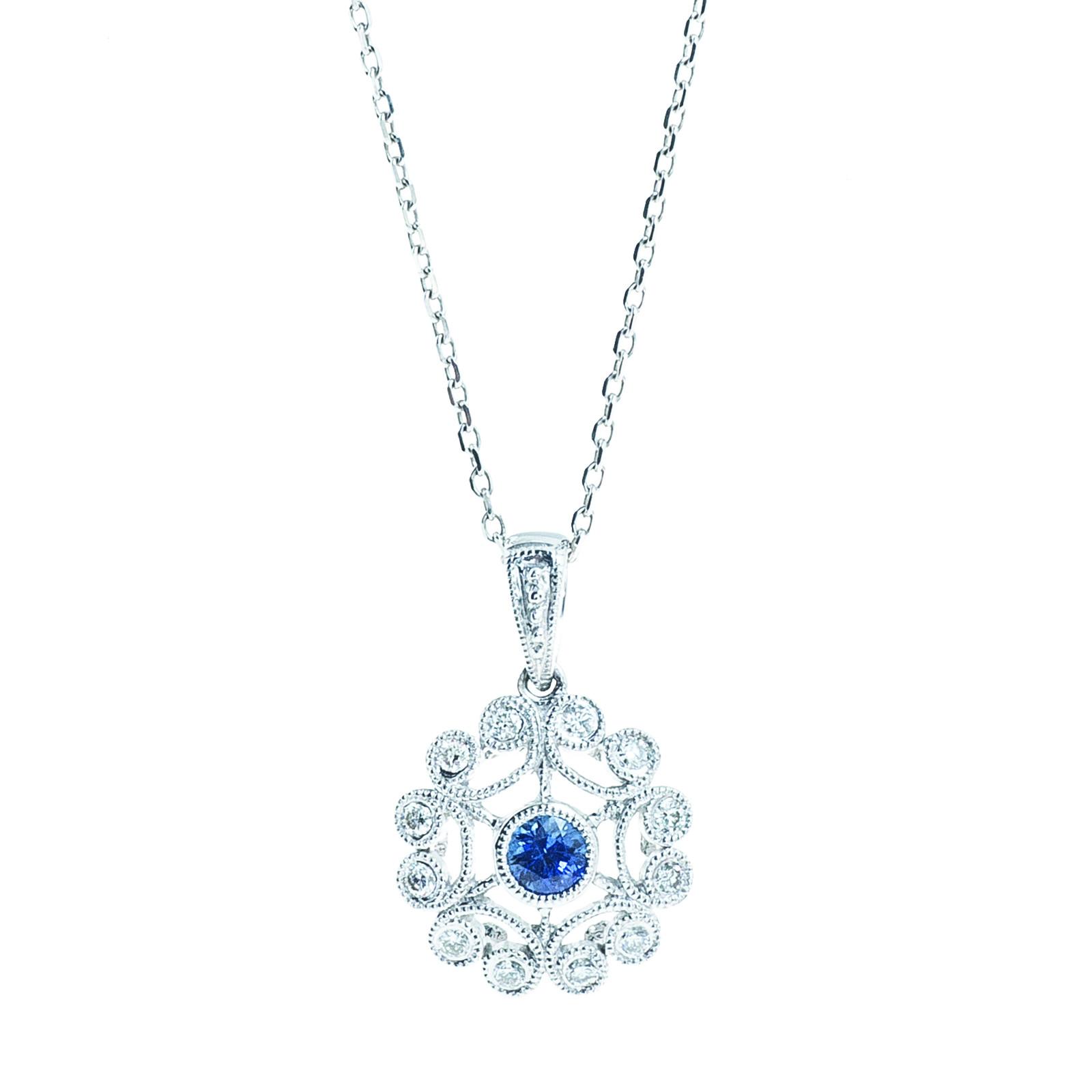 New 0.40 CTW Sapphire & Diamond Pendant