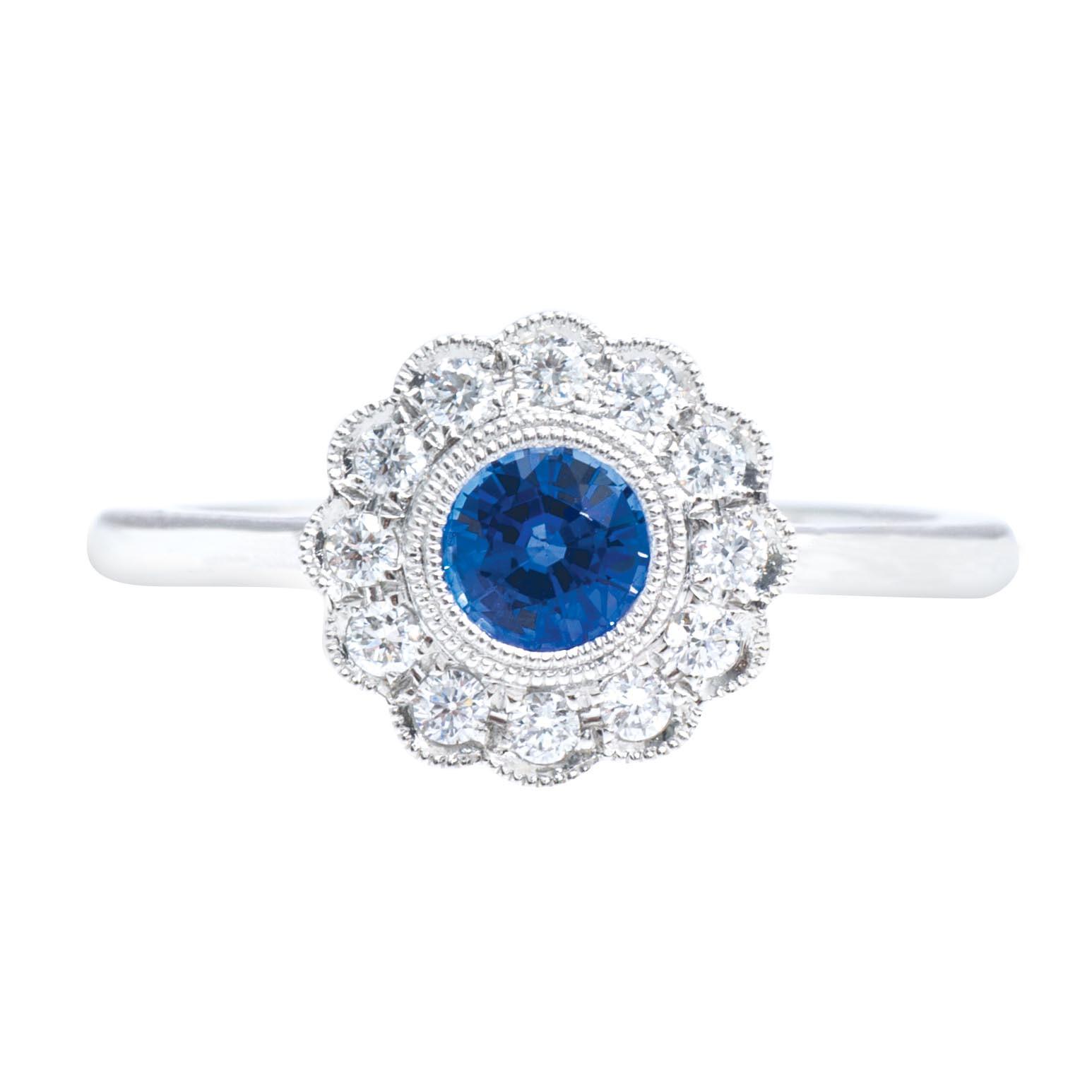 New 0.71 CTW Sapphire & Diamond Ring