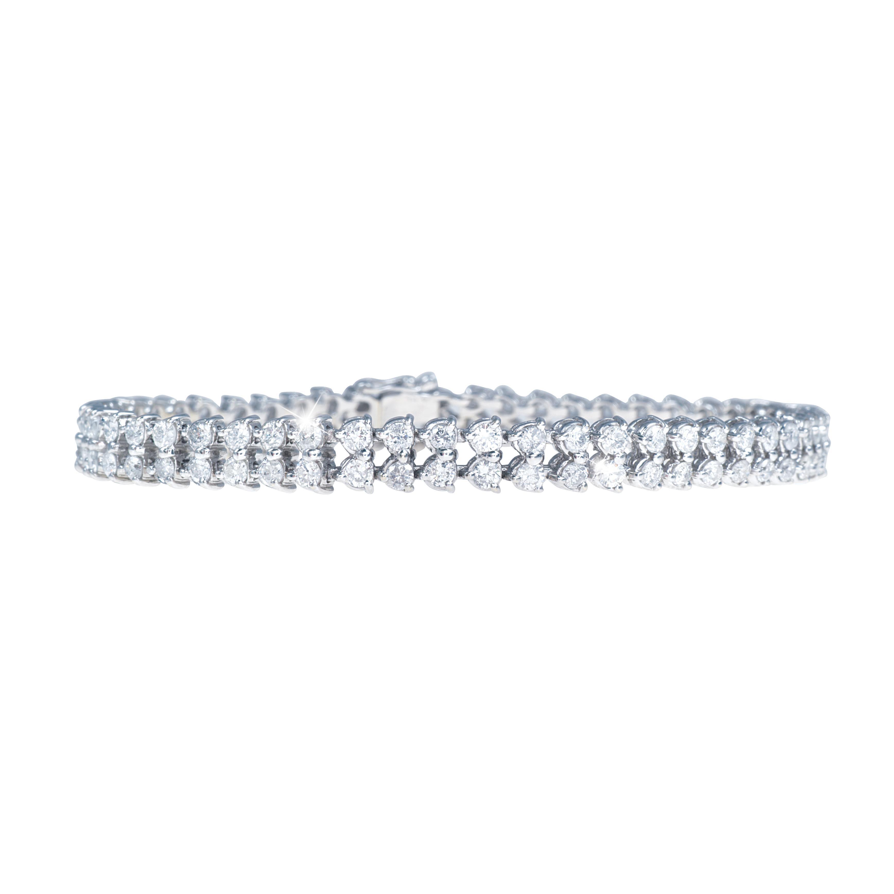 New 4.67 CTW Diamond Double Row Tennis Bracelet