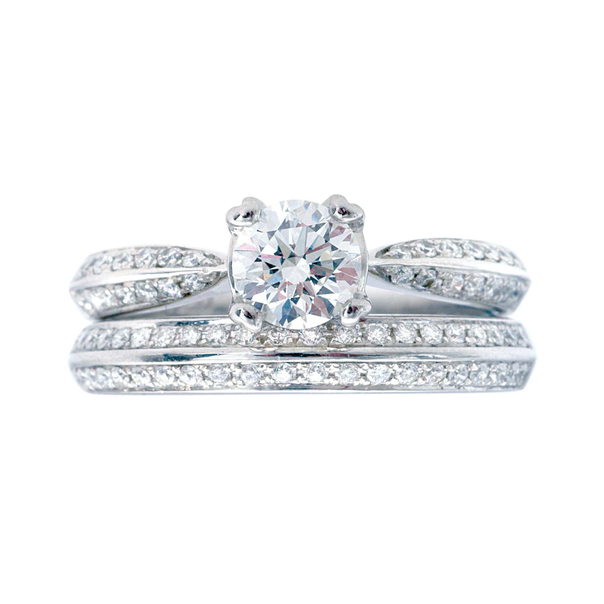 Vintage 1.16 CTW Diamond Engagement Ring & Wedding Band Set