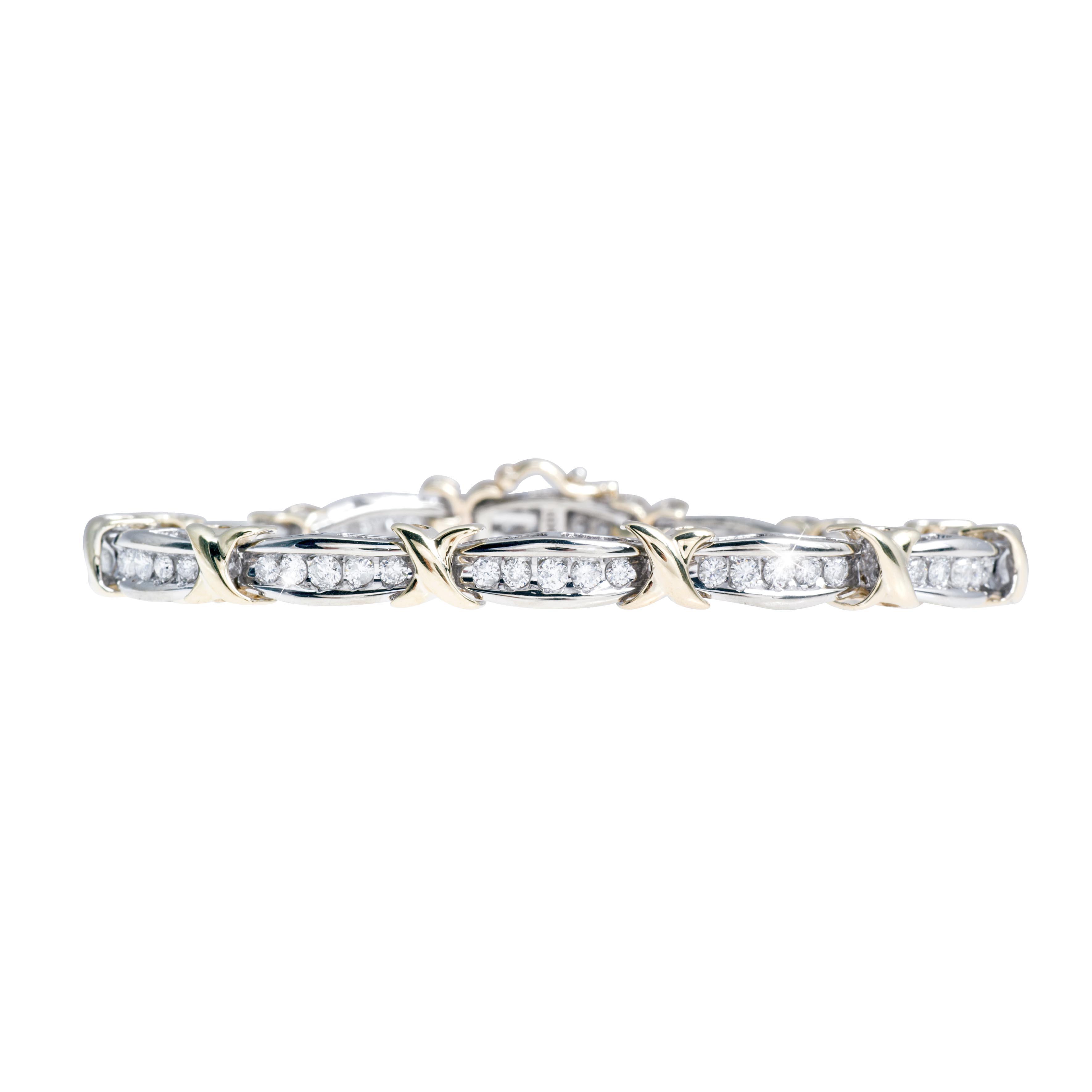 "Vintage 1.92 CTW Diamond ""X"" Line Bracelet"