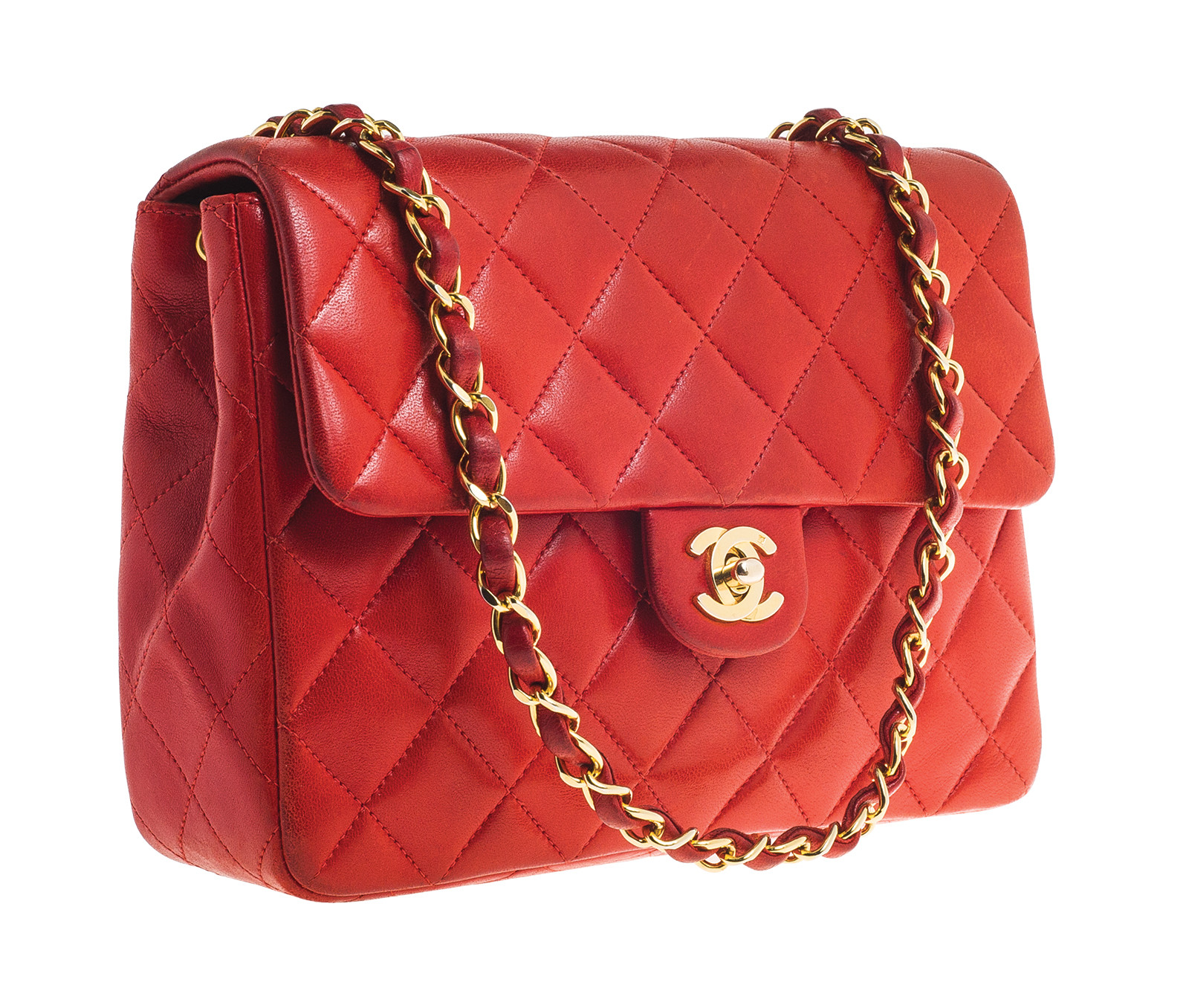 Vintage Lambskin Chanel Red Quilted Clutch Handbag