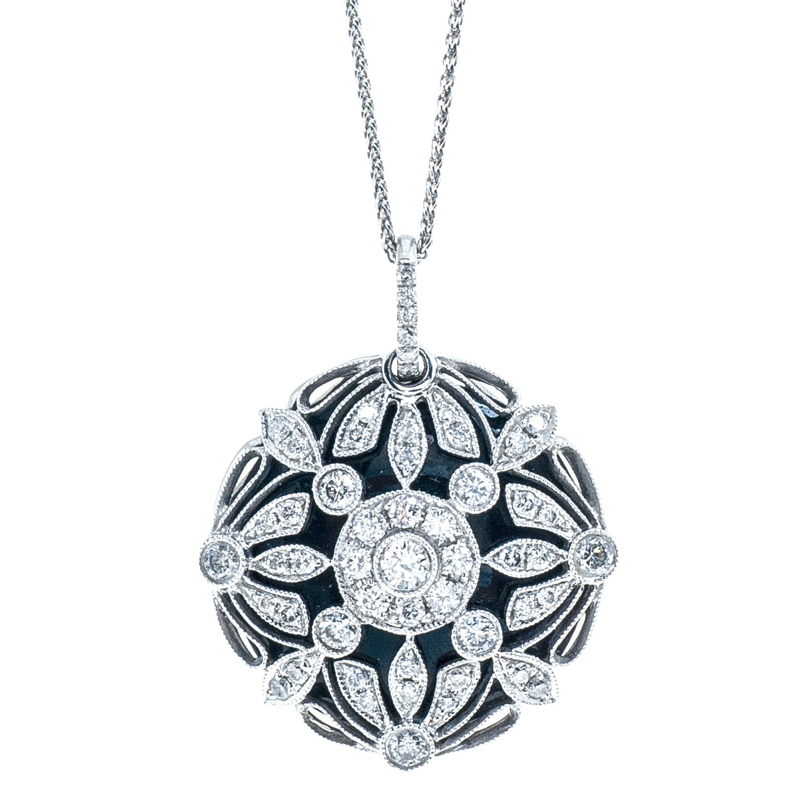 Vintage 2.01 CTW Diamond & Onyx Necklace