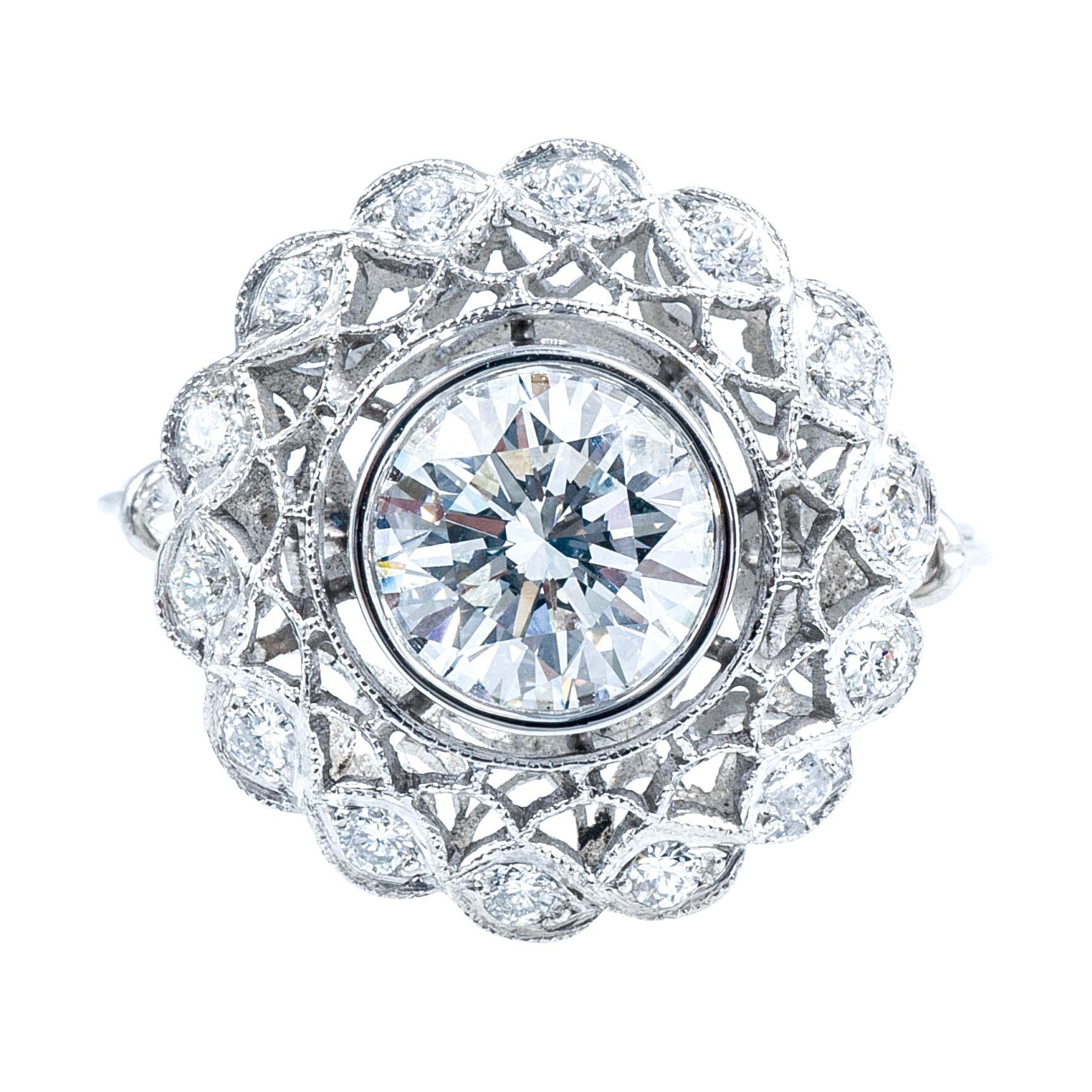 New Art Deco-Inspired 1.85 CTW Diamond Halo Engagement Ring