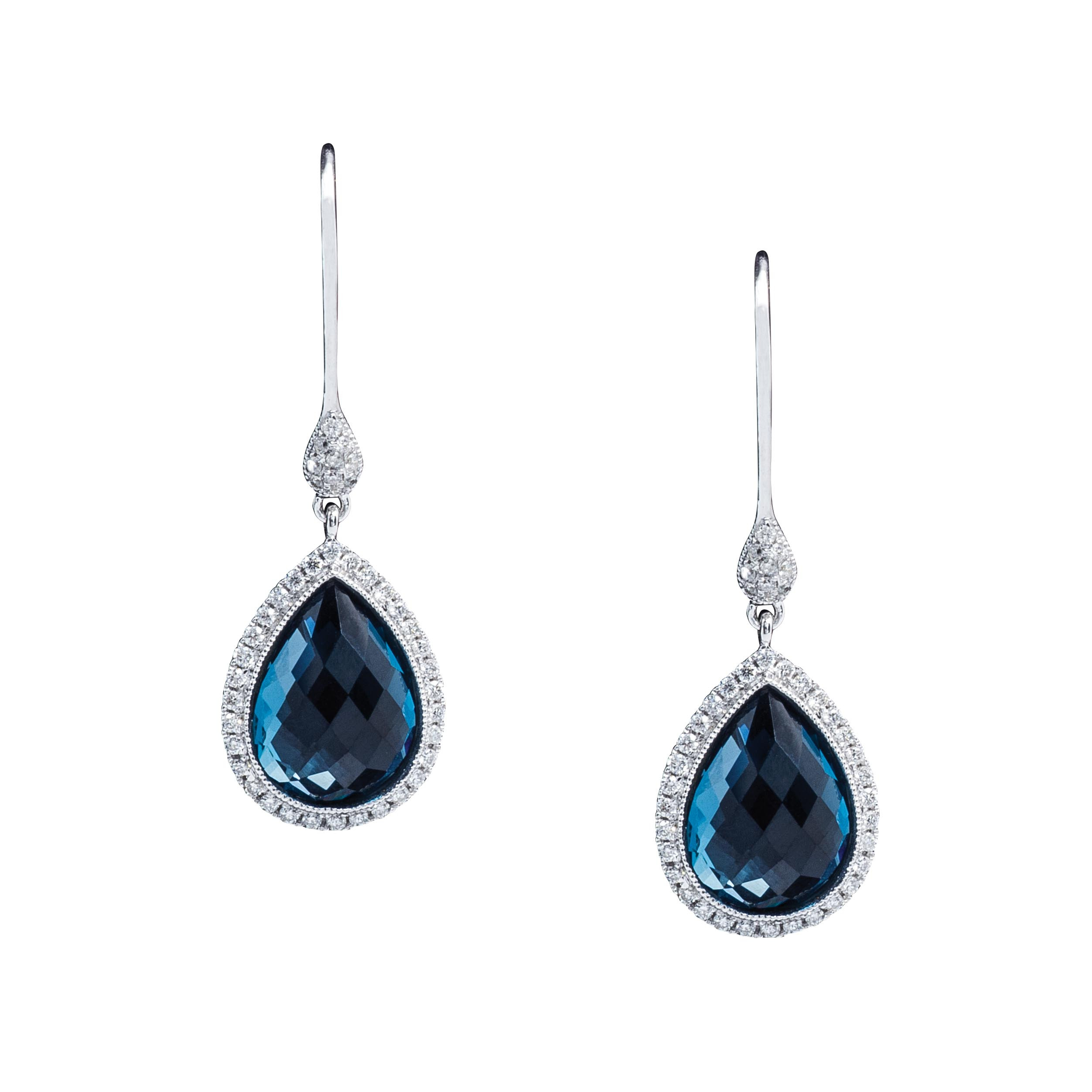 New 7.12 CTW London Blue Topaz & Diamond Earrings