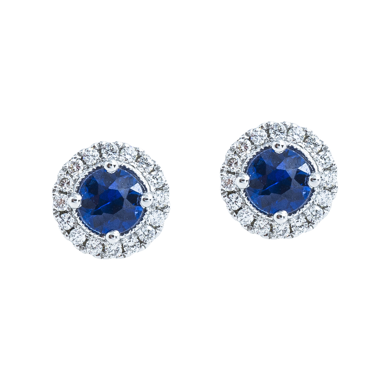 New 0.78 CTW Blue Sapphire & Diamond Stud Earrings