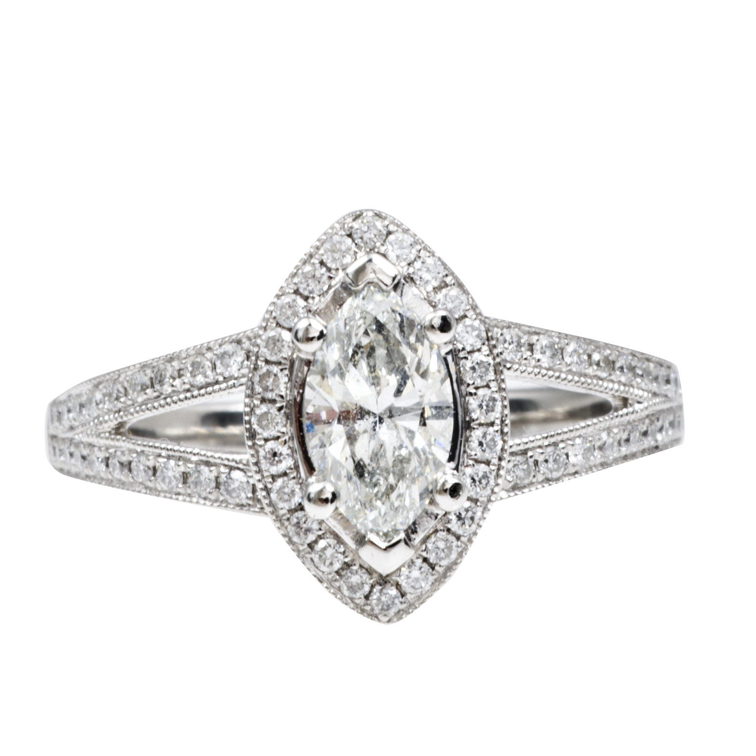 Vintage 1.02 CTW Marquise Diamond Engagement Ring