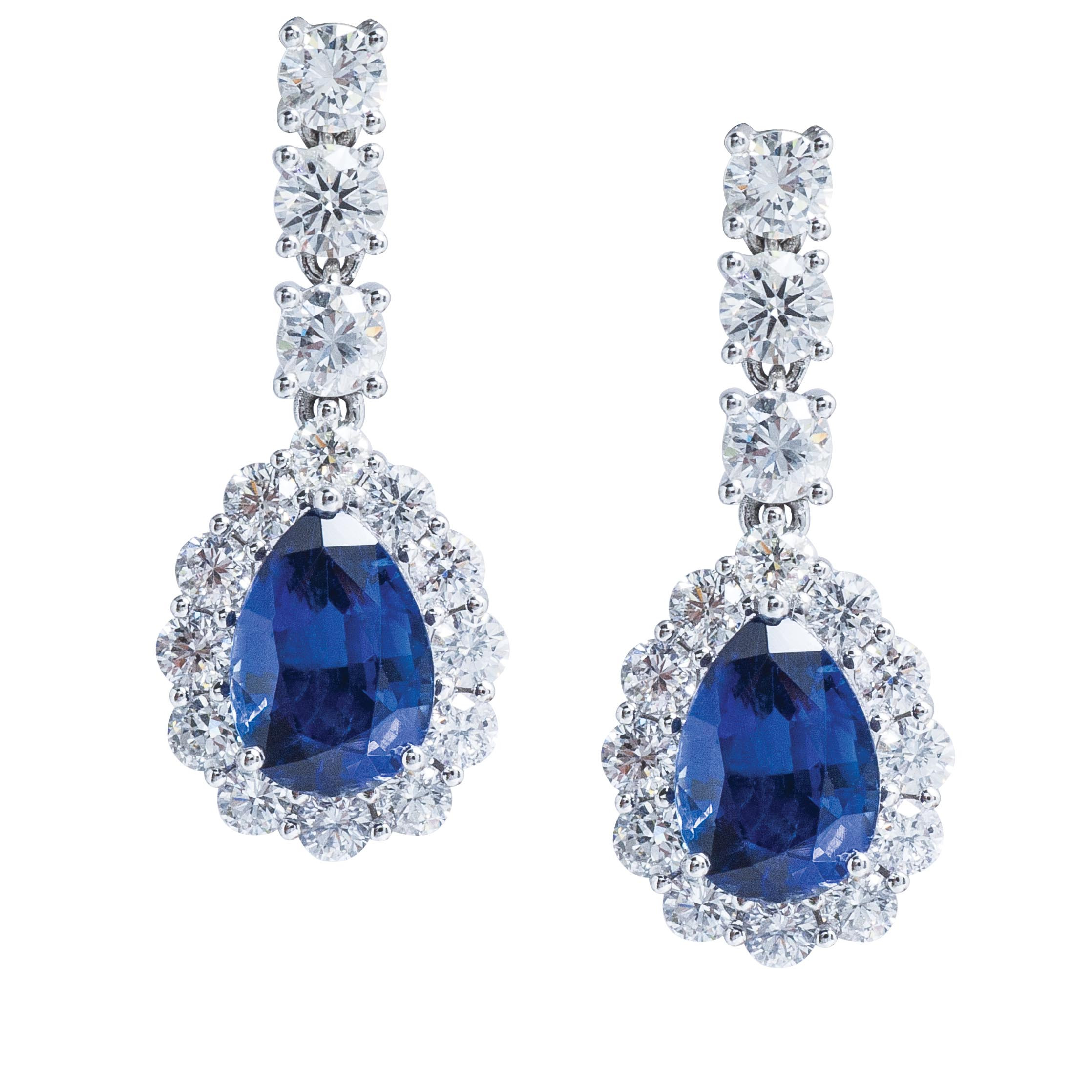 New 8.19 CTW Blue Sapphire & Diamond Halo Dangle Earrings