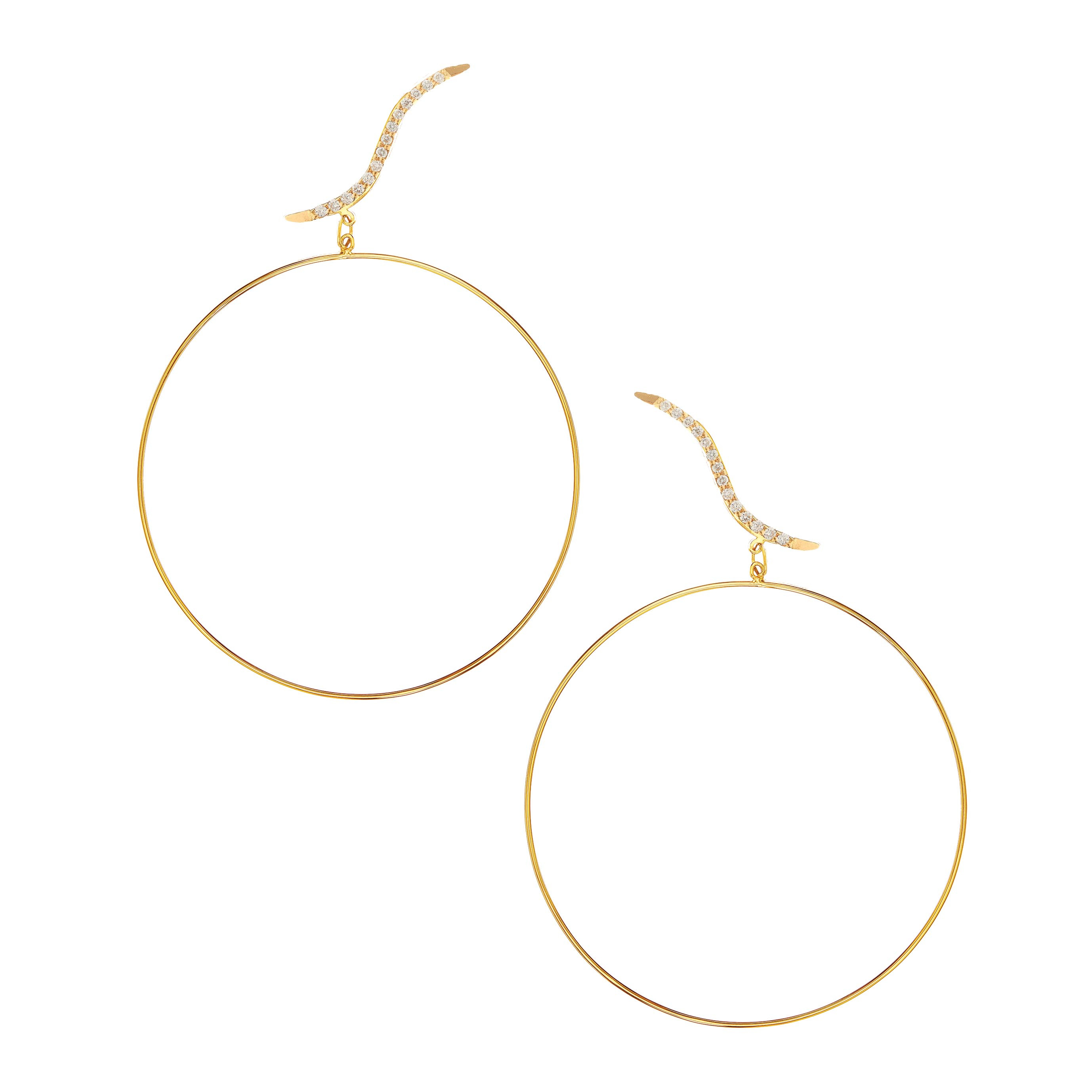 New Lana Jewelry 0.21 CTW Electric Hoop Stud Duo Earrings