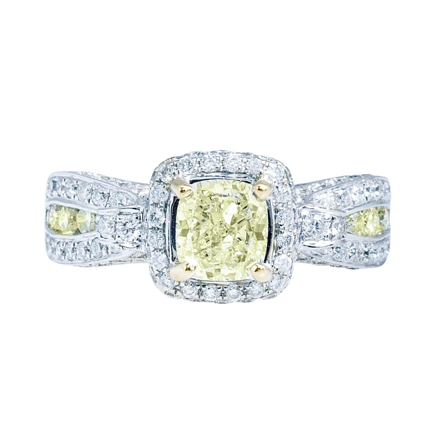 Vintage 1.96 CTW Fancy Yellow & White Diamond Halo Engagement Ring