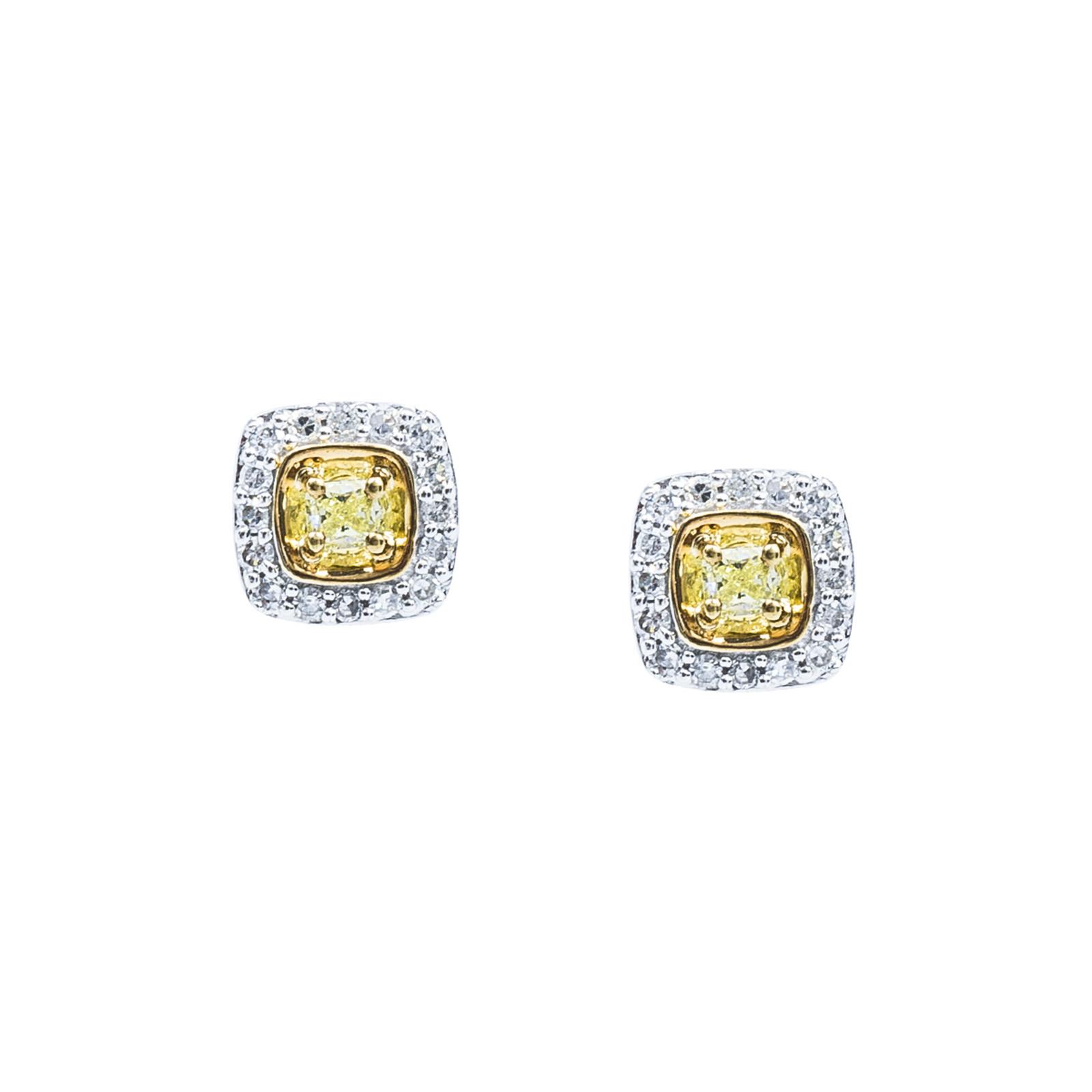 New 0.32 CTW Yellow & White Diamond Stud Earrings
