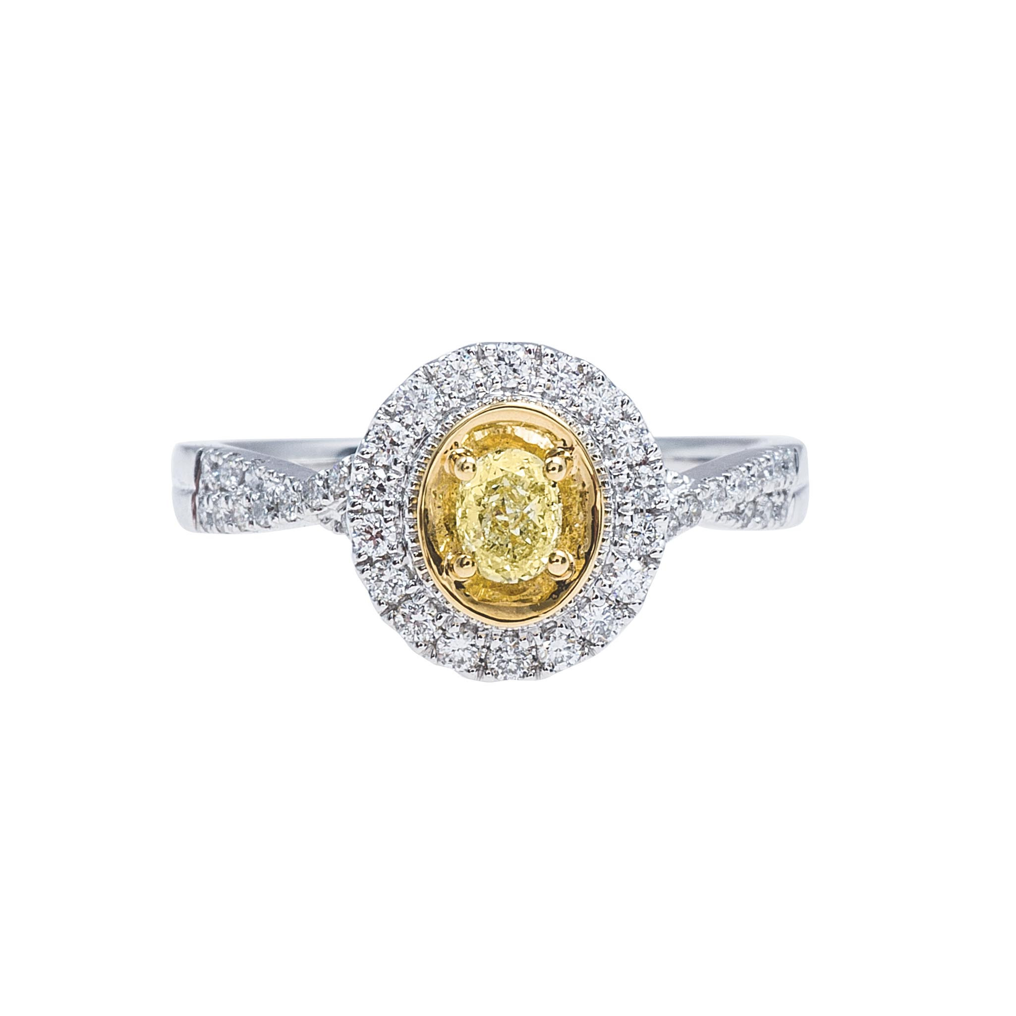 New 0.59 CTW White & Fancy Yellow Diamond Engagement Ring