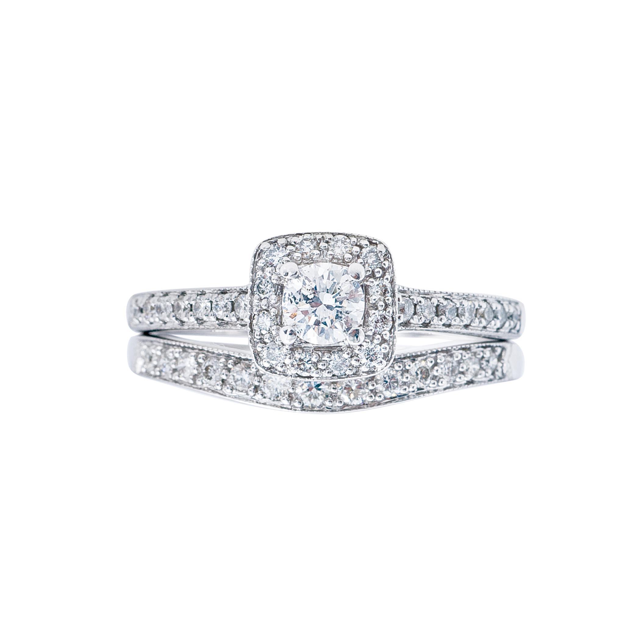 Vintage 0.51 CTW Diamond Halo Engagement & Wedding Band Set