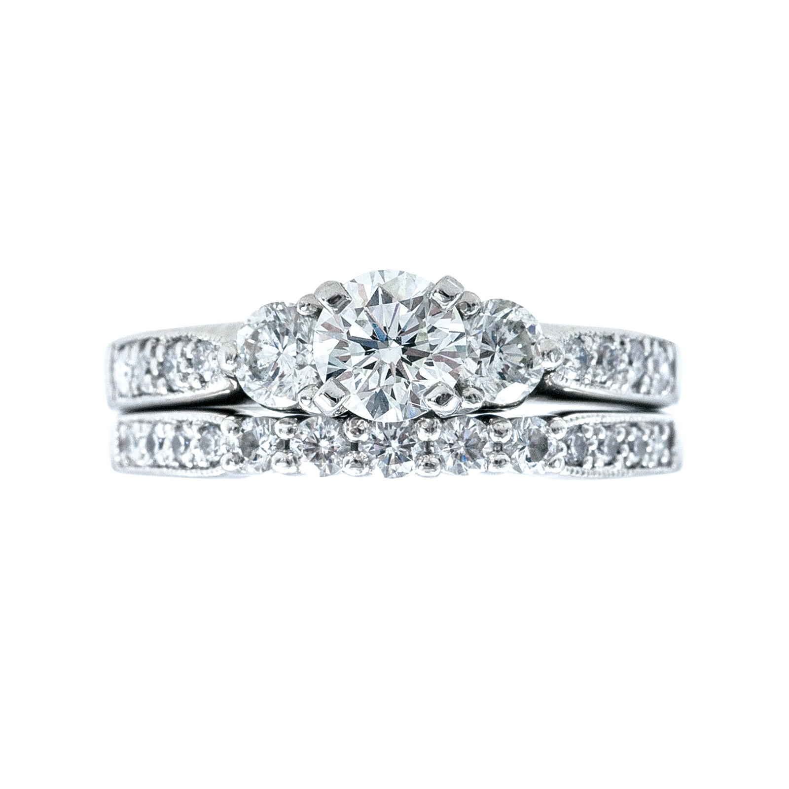 Vintage 1.18 CTW Diamond Engagement Ring & Wedding Band Set