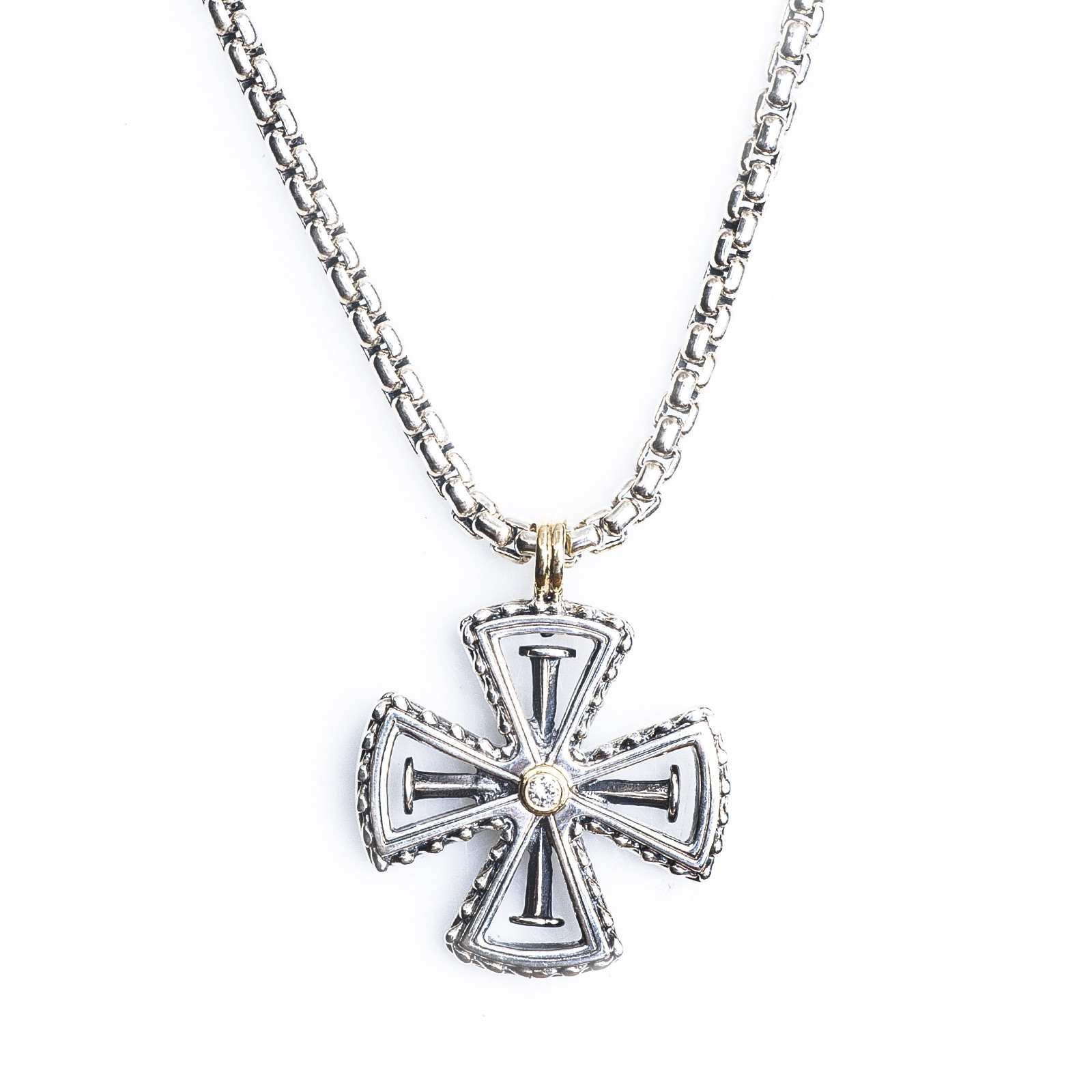 necklace cross jewelry metallic byzantine gallery men product in silver maltese for lyst konstantino pendant