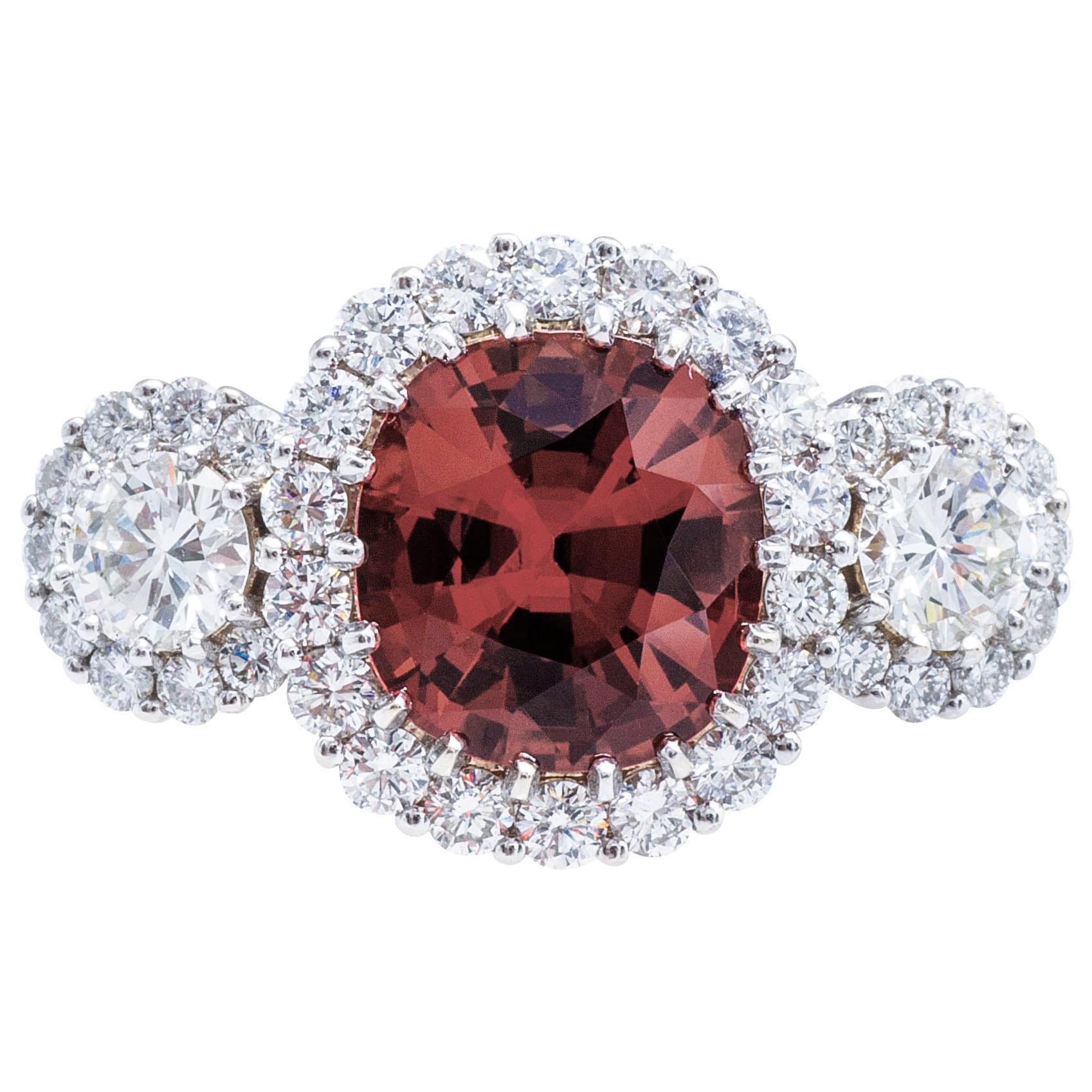 Vintage 4.70 CTW Rhodolite Garnet & Diamond Halo Ring