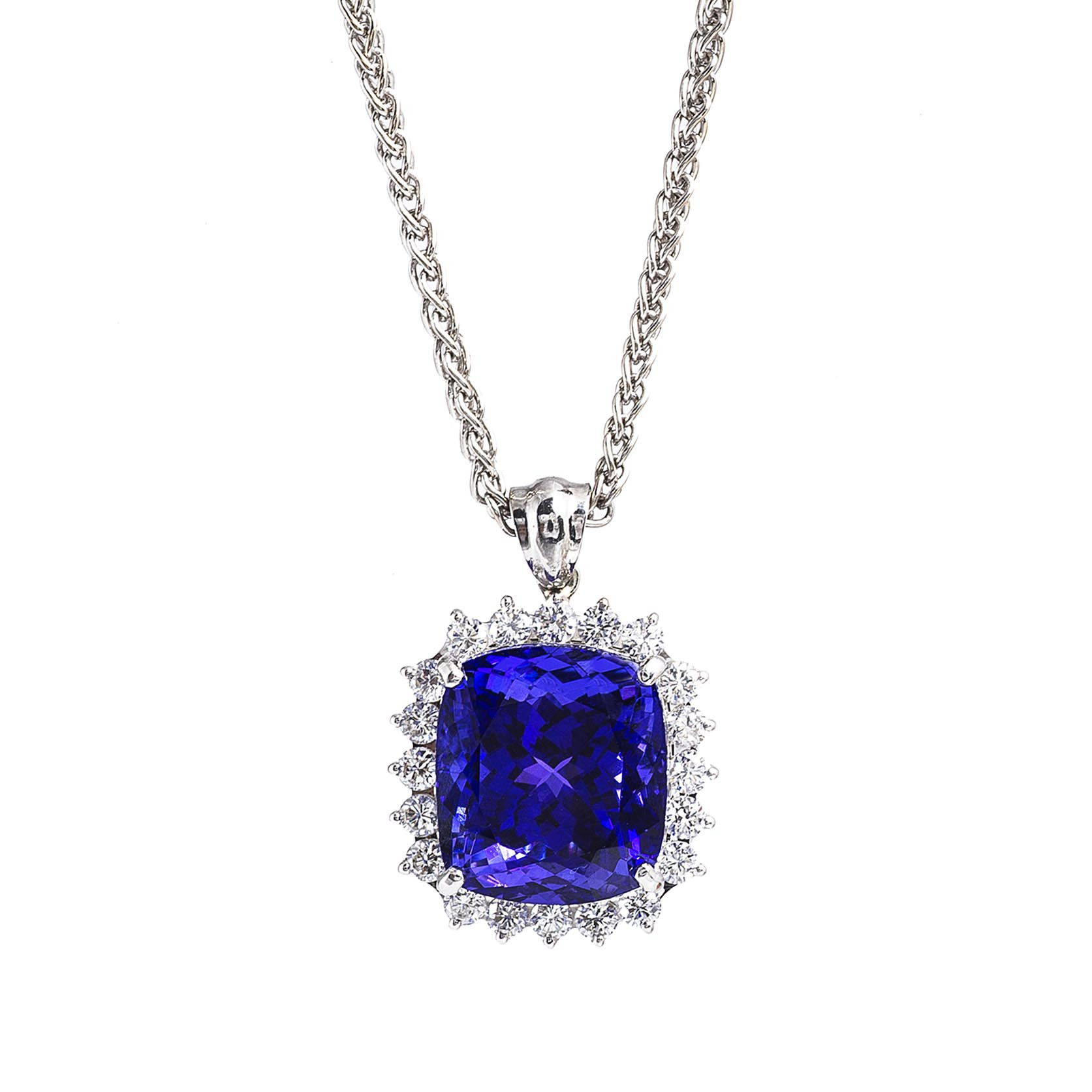 Vintage 9.32 CTW Tanzanite & Diamond Necklace