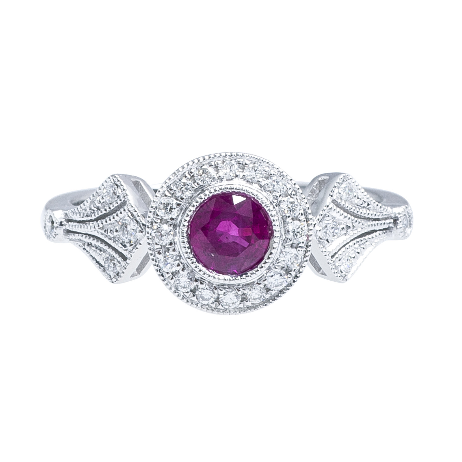 New Antique-Inspired 0.73 CTW Ruby & Diamond Ring
