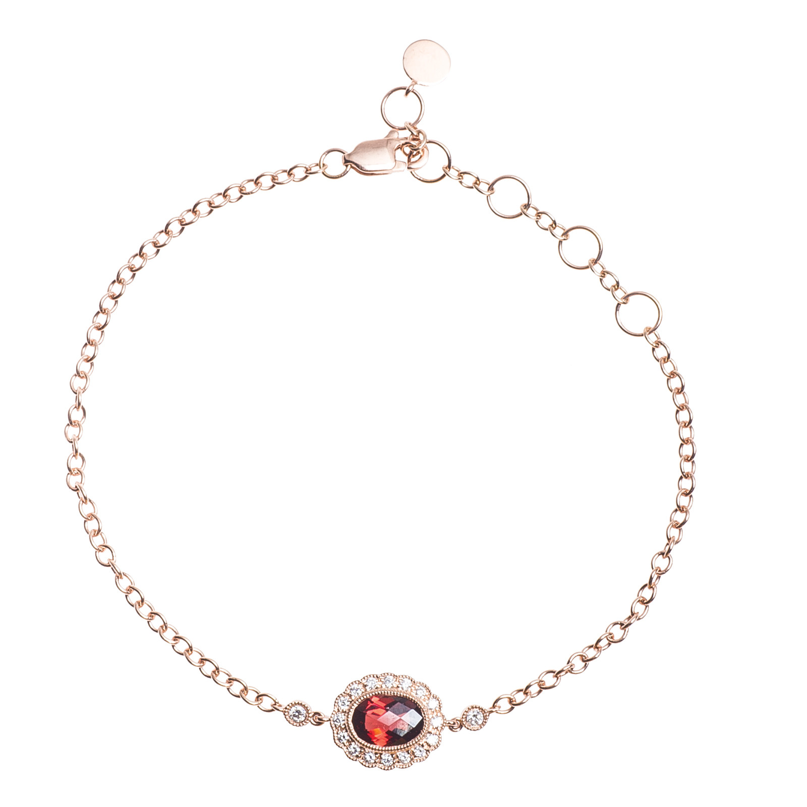New 1.02 CTW Diamond & Garnet Bracelet