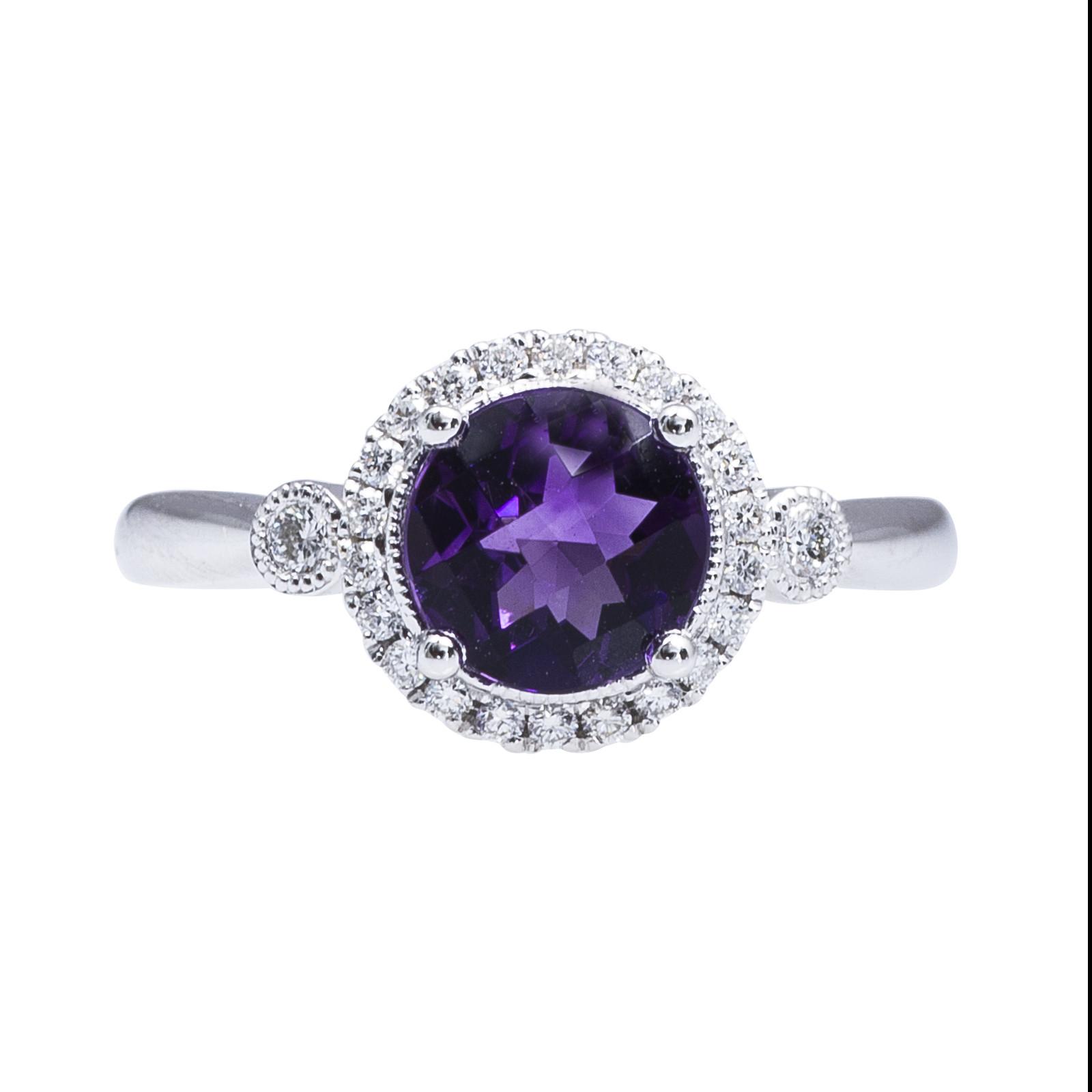New 1.30 CTW Amethyst & Diamond Ring