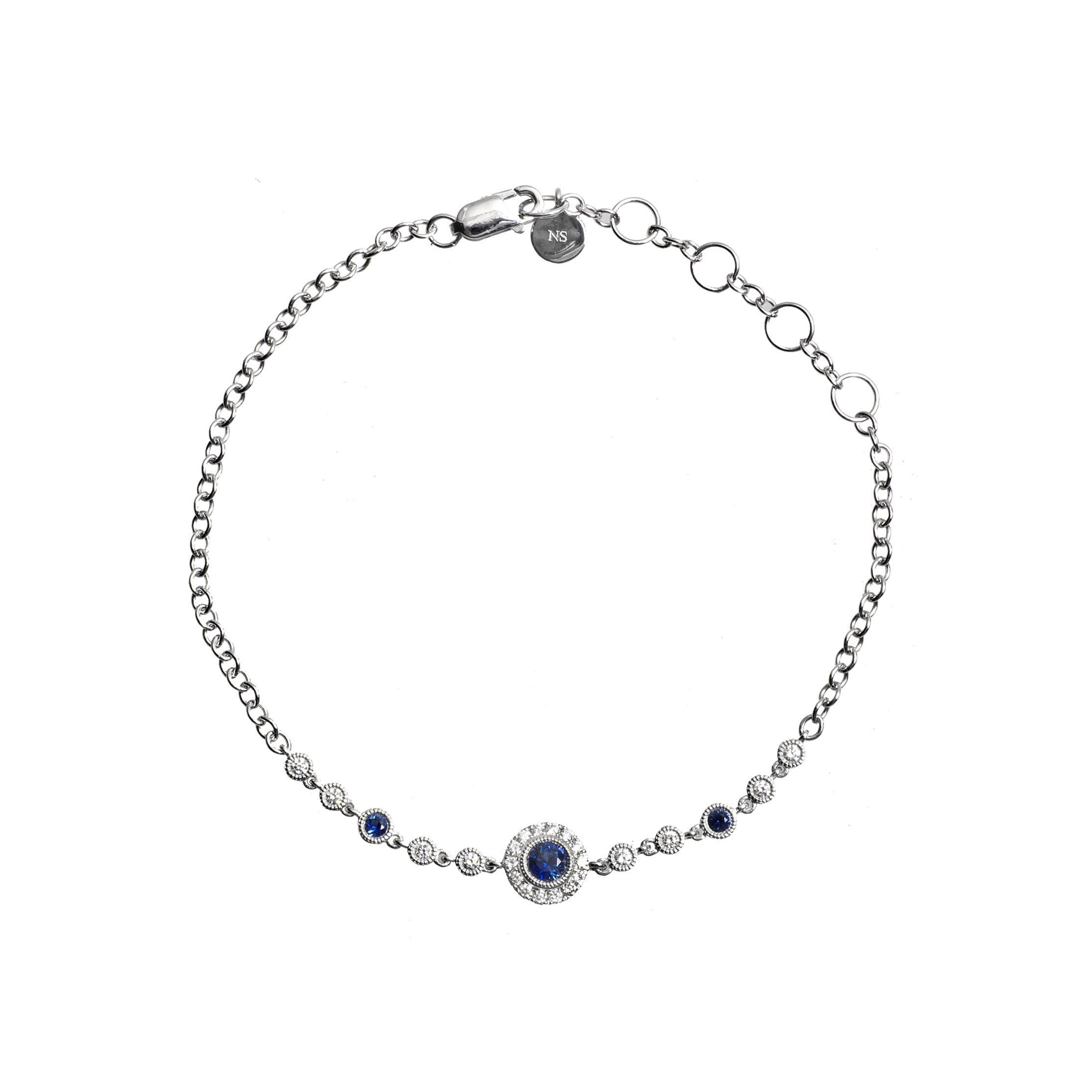 New 0.55 CTW Sapphire & Diamond Halo Bracelet