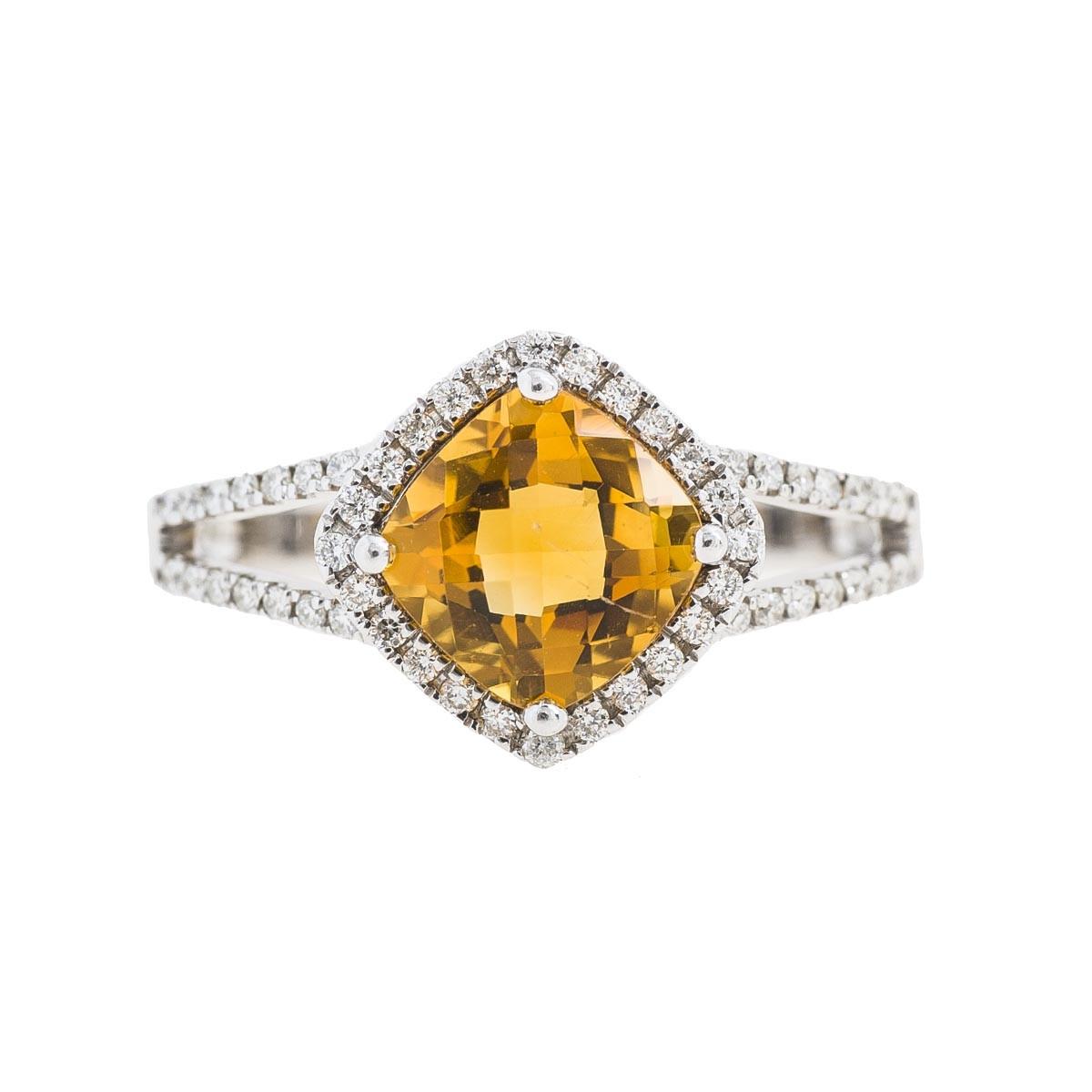 New 1.39 CTW Citrine & Diamond Halo Ring