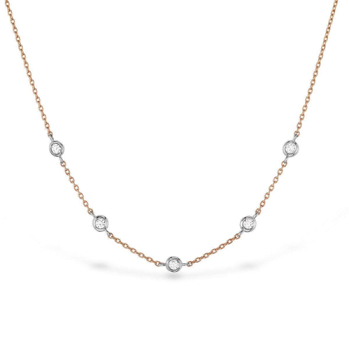 New Hearts On Fire® 0.08 CTW Diamond Off-Set 5 Bezel Necklace