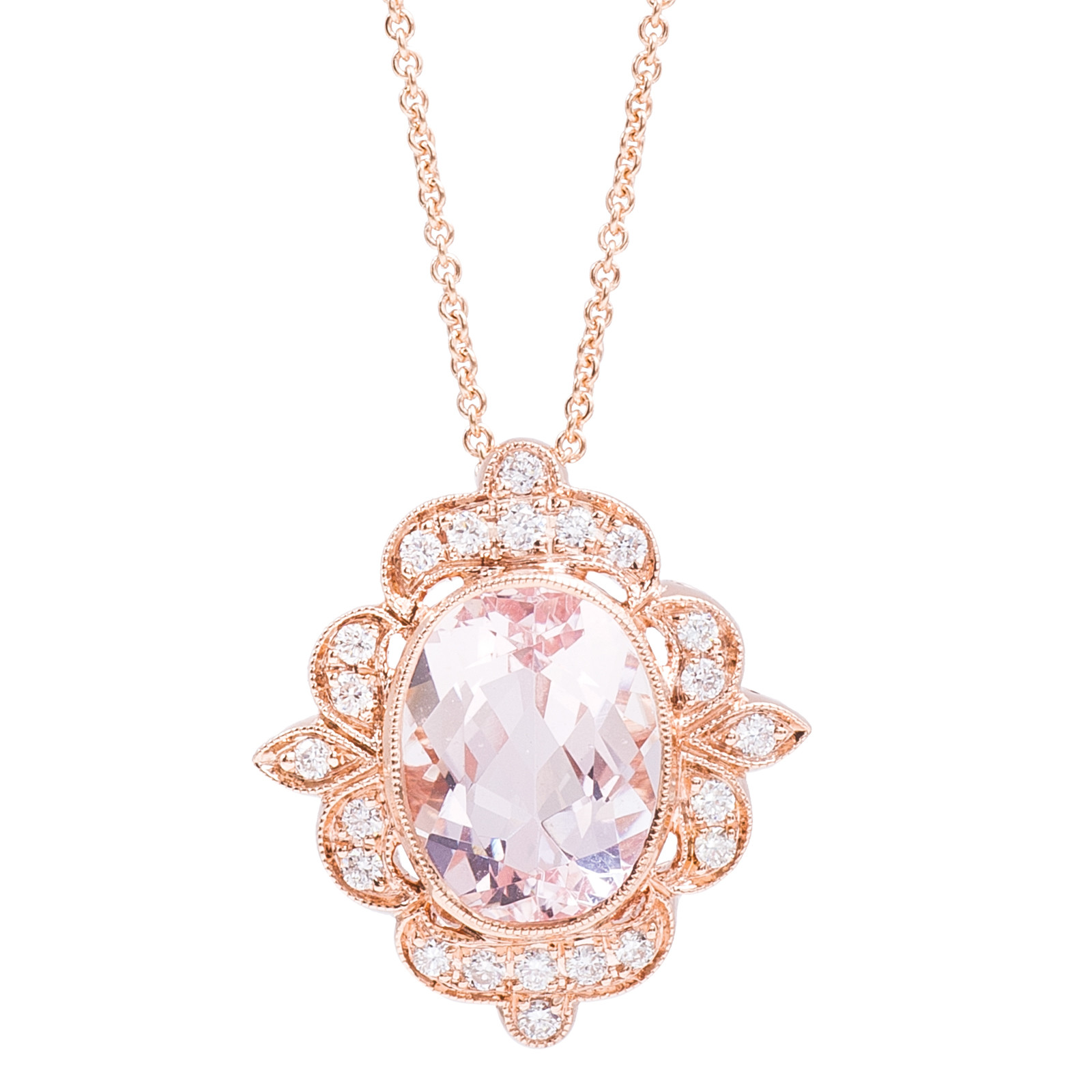 pendants necklaces pid morganite solitaire pendant necklace rose pear gemstone gold and