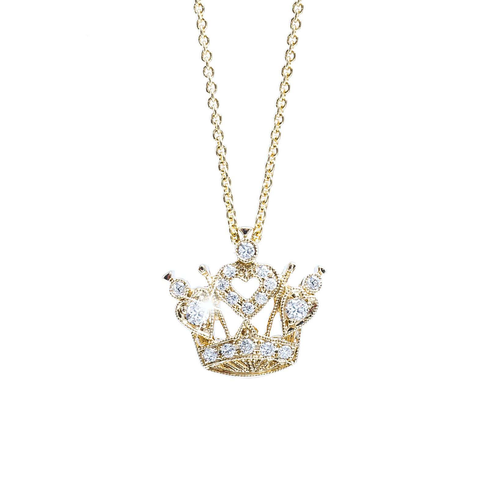 New Beverley K 0.11 ctw Diamond Small Heart Crown Necklace