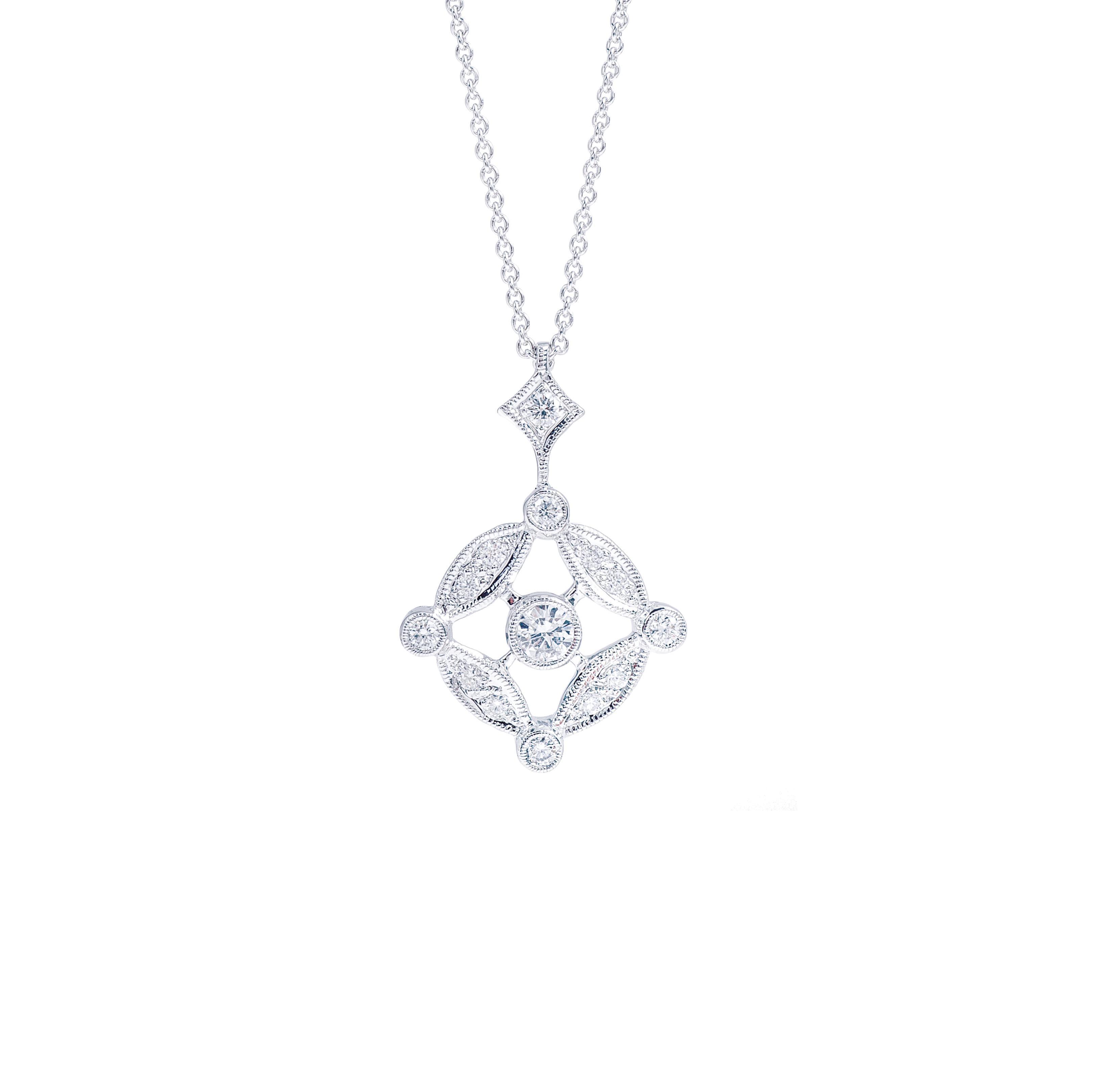 New Beverley K 0.22 CTW Diamond Off-Set Circle Necklace