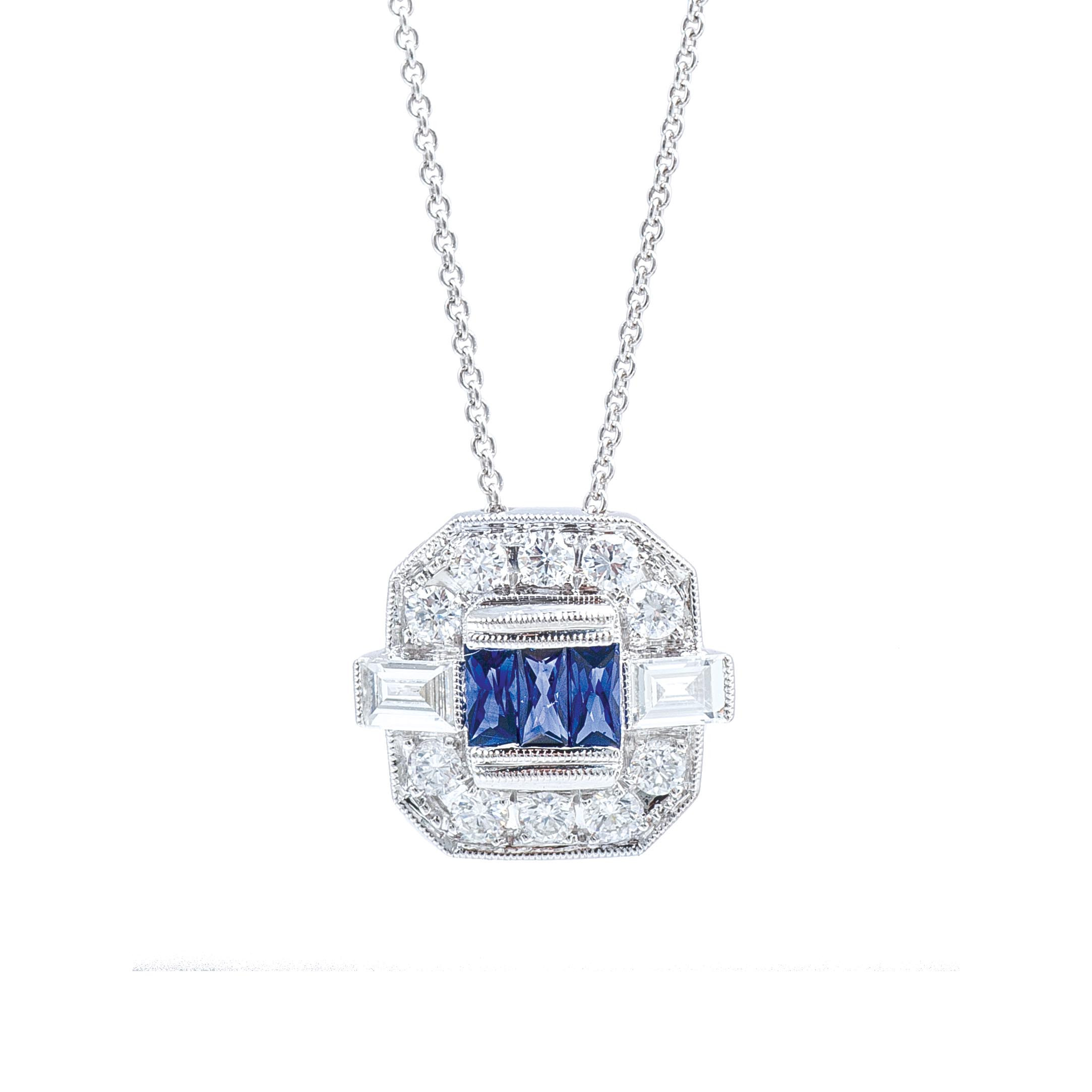 New Art Deco-Inspired Beverley K 0.85 CTW Blue Sapphire & Diamond Halo Necklace