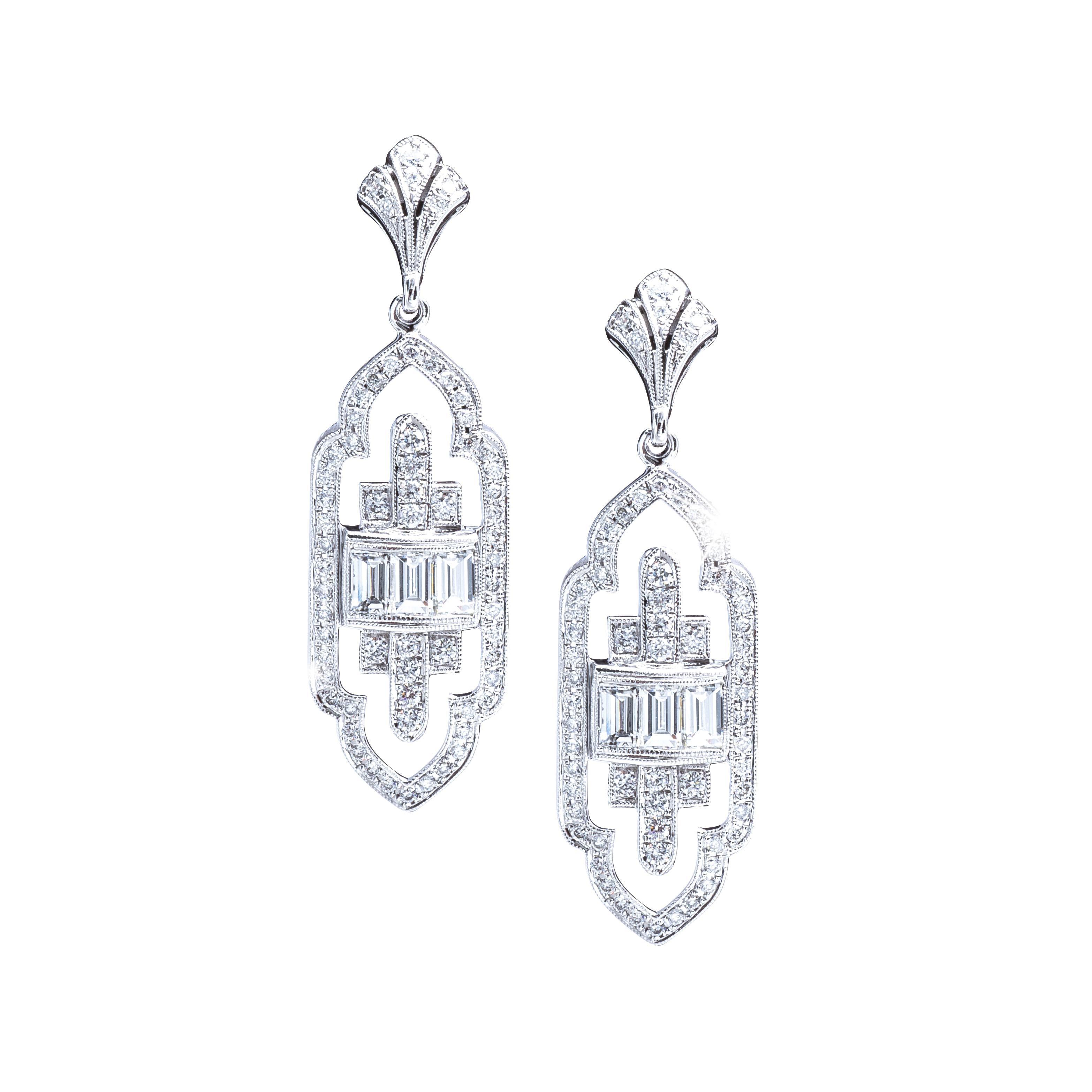 New Art Deco-Inspired Beverley K 1.05 CTW Diamond Drop Earrings