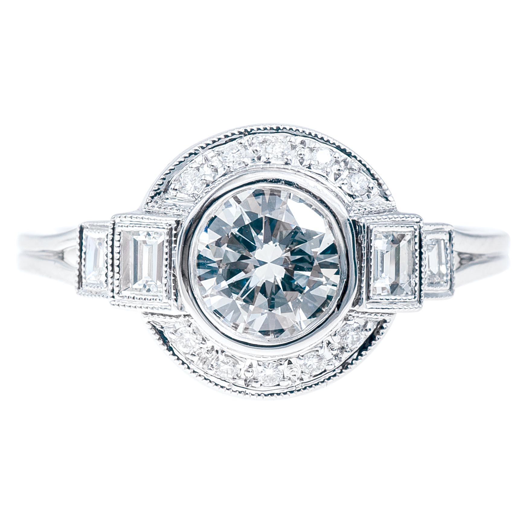 New Art Deco-Inspired Beverley K 1.01 CTW Diamond Halo Engagement Ring