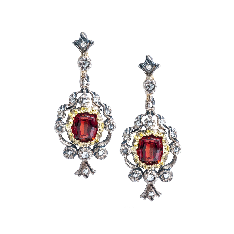 Antique 2.03CTW Garnet & Diamond Drop Earrings