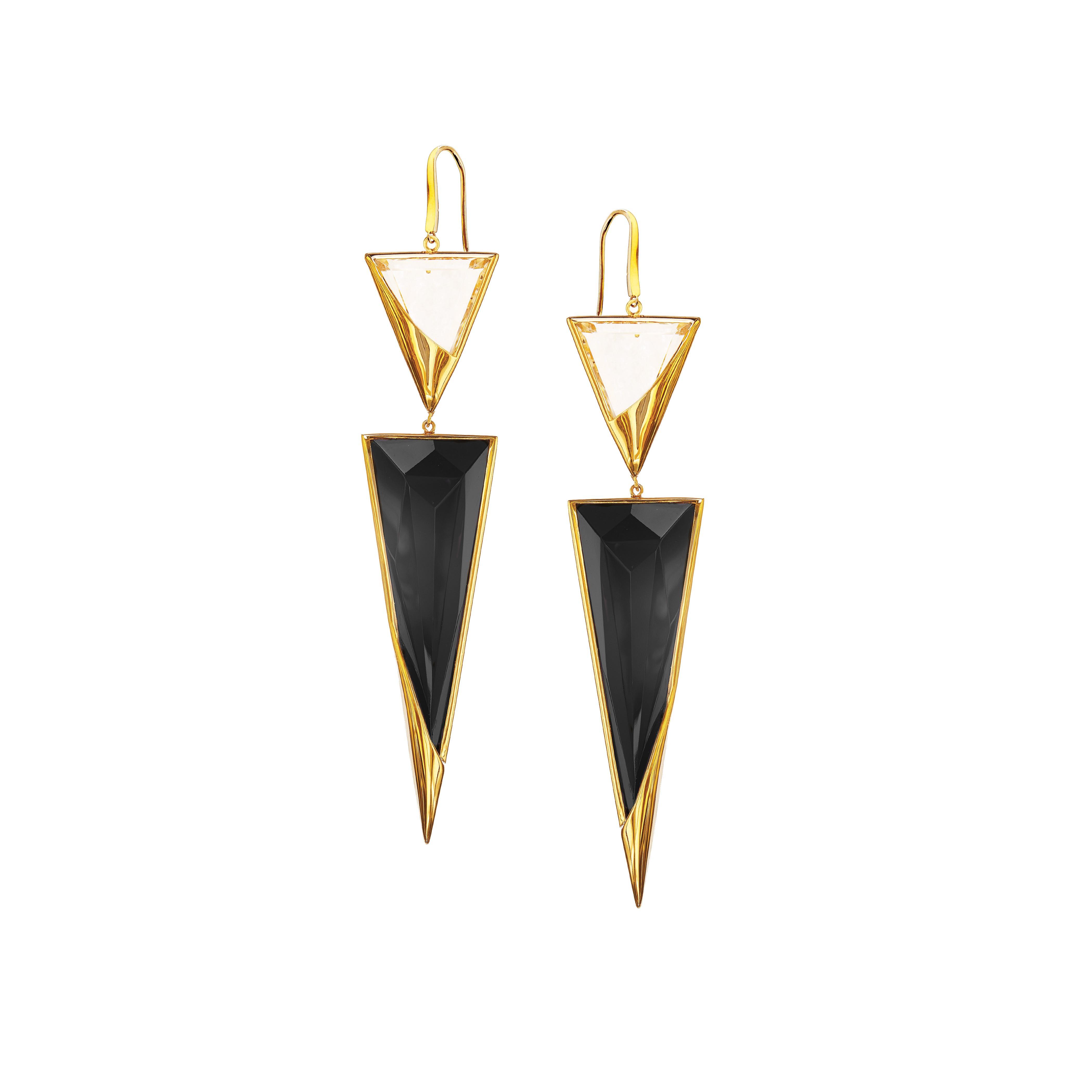 New Lana Jewelry Black Onyx & Crystal Jet Earrings