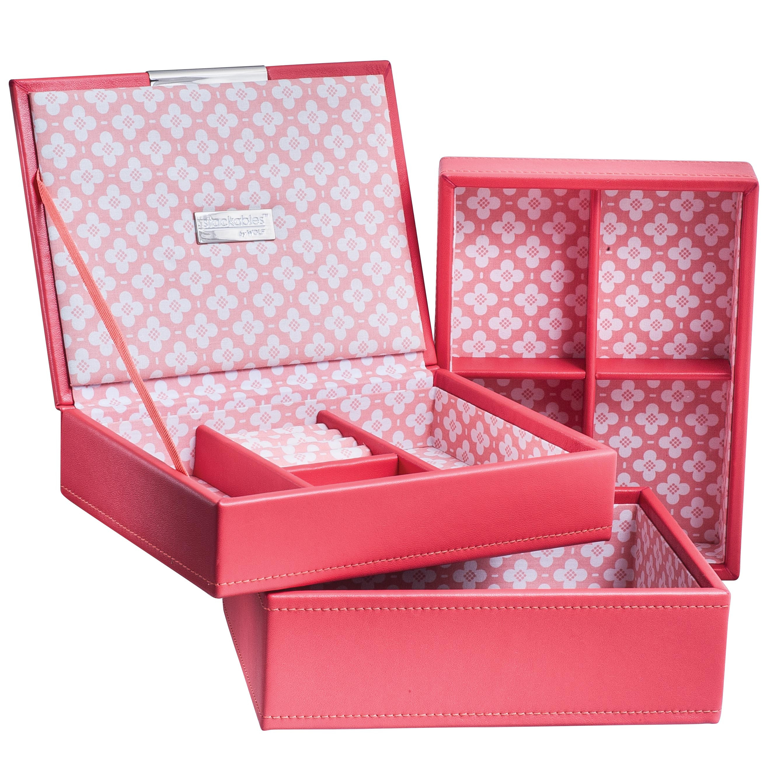 New Wolf Designs Stackable Coral Mini Tray Set Jewelry Box