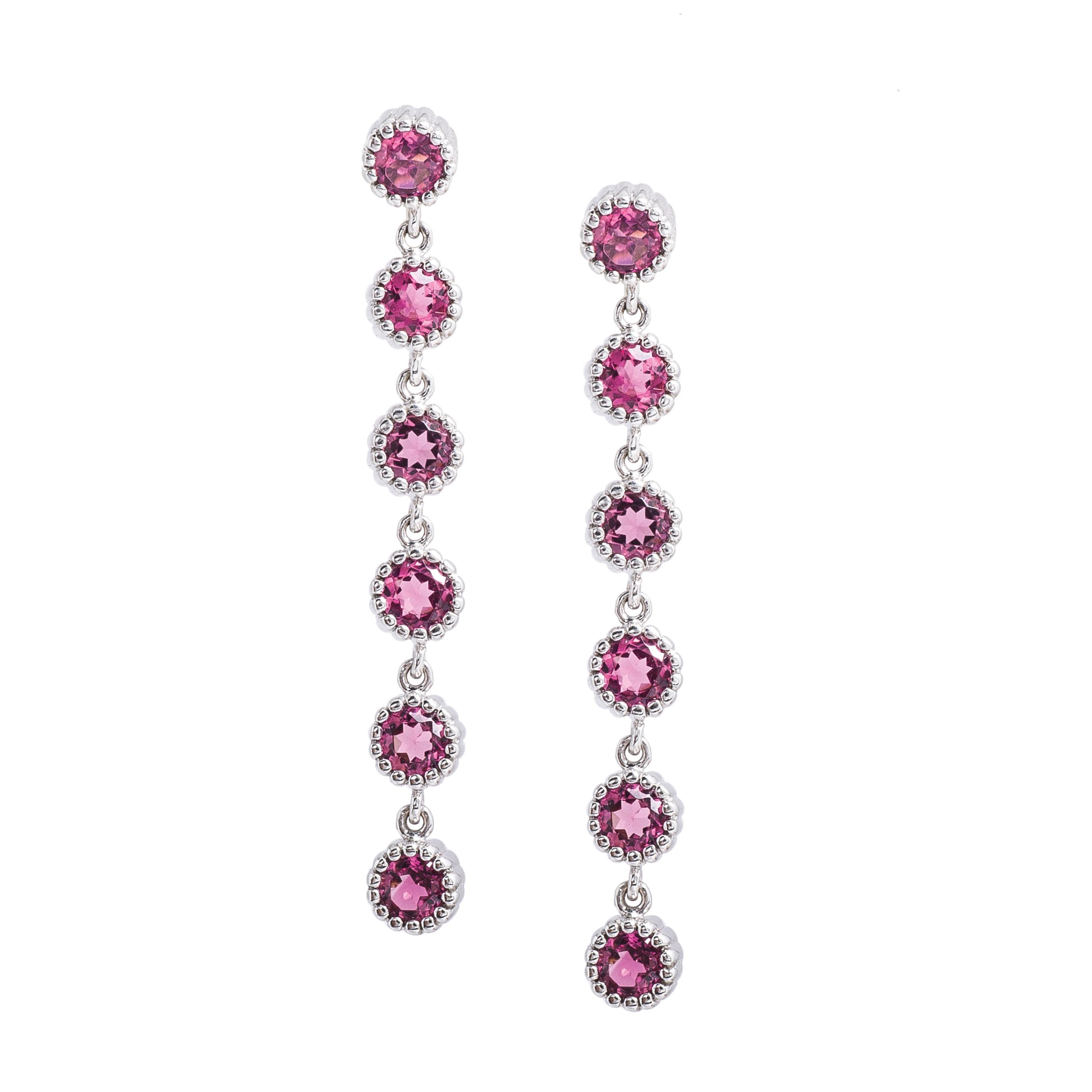 Vintage 3.15 CTW Pink Tourmaline Drop Earrings