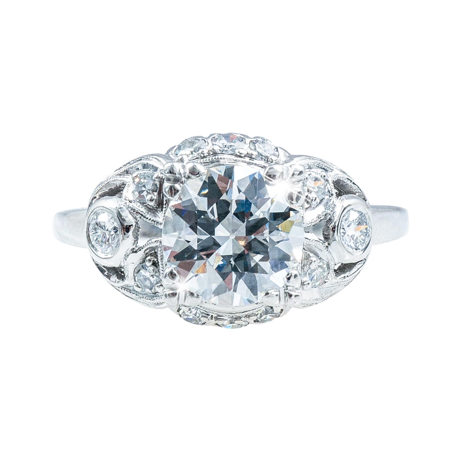 Antique 1.62 CTW Diamond Engagement Ring